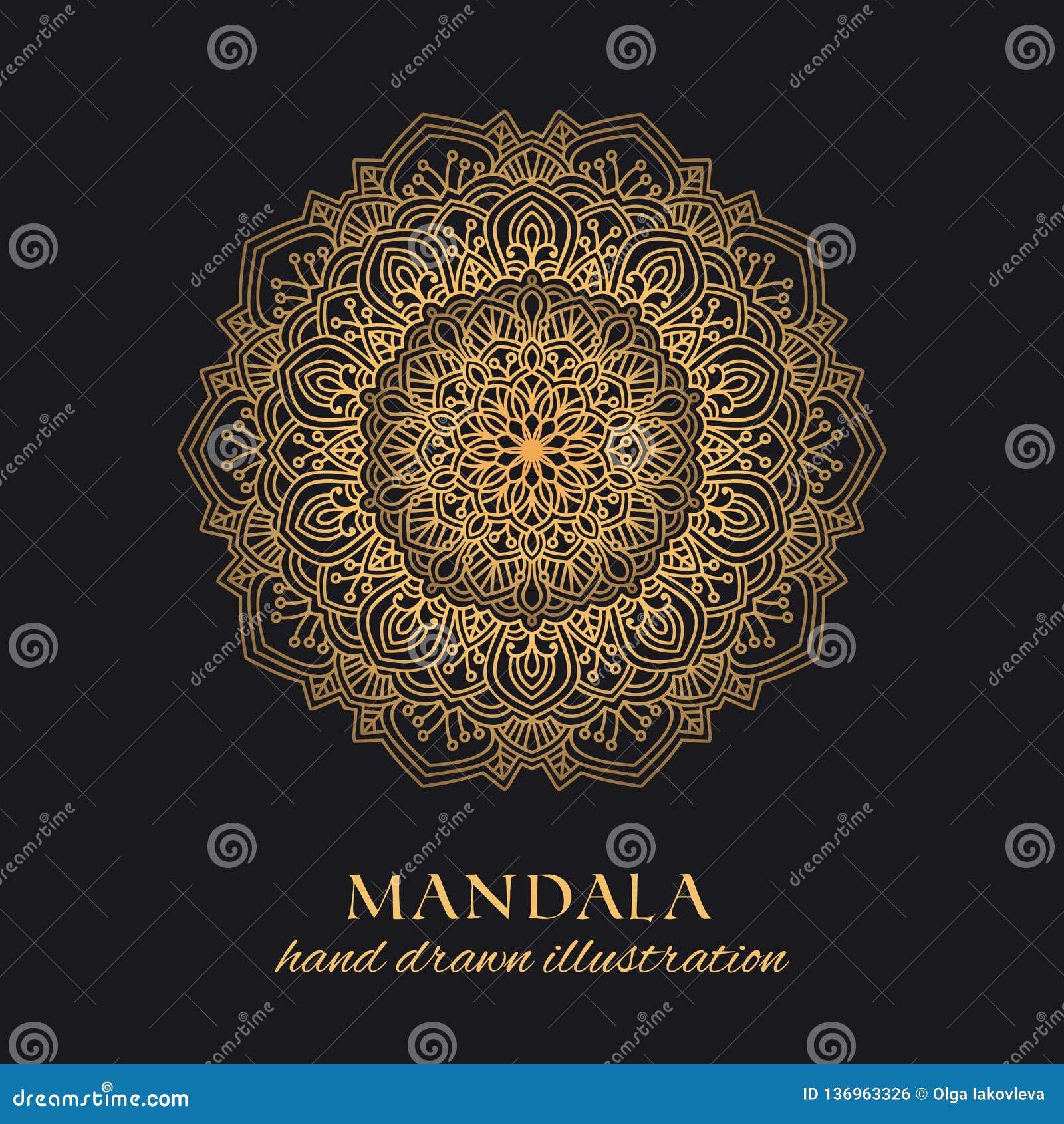 Διανυσματικό στρογγυλό σχέδιο πολυτέλειας διακοσμήσεων Mandala Χρυσό εθνικό στοιχείο