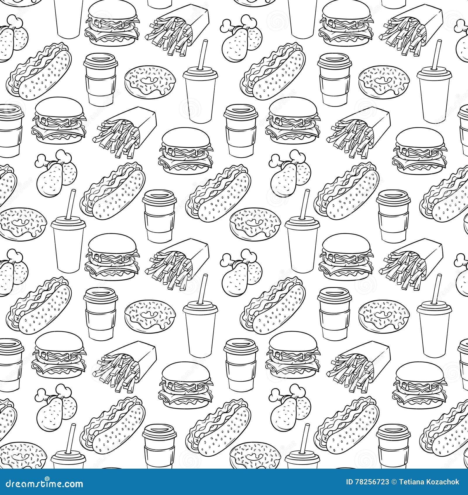Διανυσματικό συρμένο χέρι λαϊκό σχέδιο γρήγορου φαγητού τέχνης μονοχρωματικό