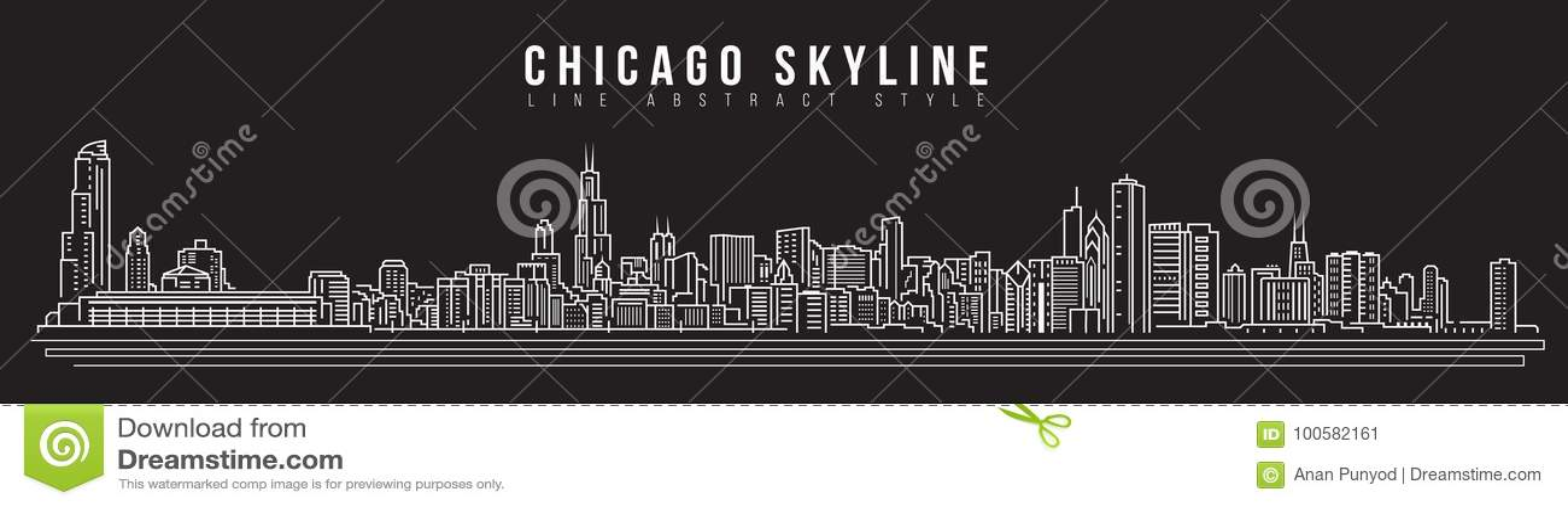 Διανυσματικό σχέδιο απεικόνισης τέχνης γραμμών κτηρίου εικονικής παράστασης πόλης - ορίζοντας του Σικάγου