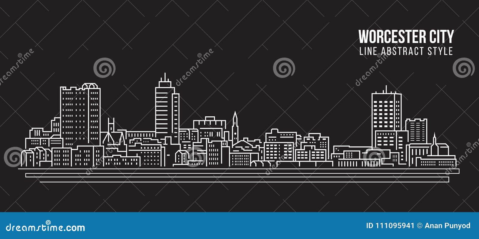 Διανυσματικό σχέδιο απεικόνισης τέχνης γραμμών κτηρίου εικονικής παράστασης πόλης - πόλη του Worcester