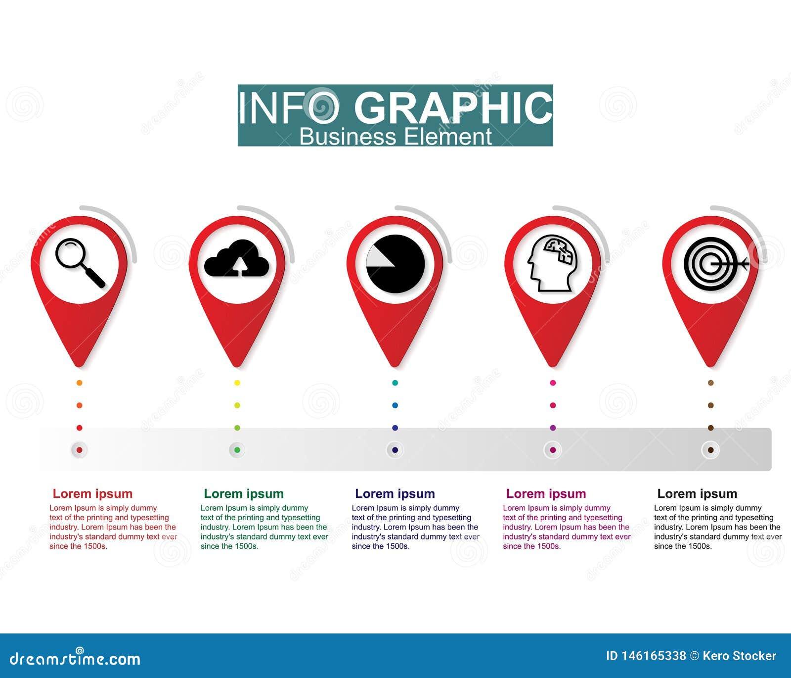 Διανυσματικό σχέδιο απεικόνισης Businees infographic, πρότυπα, στοιχείο, υποδείξεις ως προς το χρόνο Σχεδιάγραμμα ή διαδικασία ερ