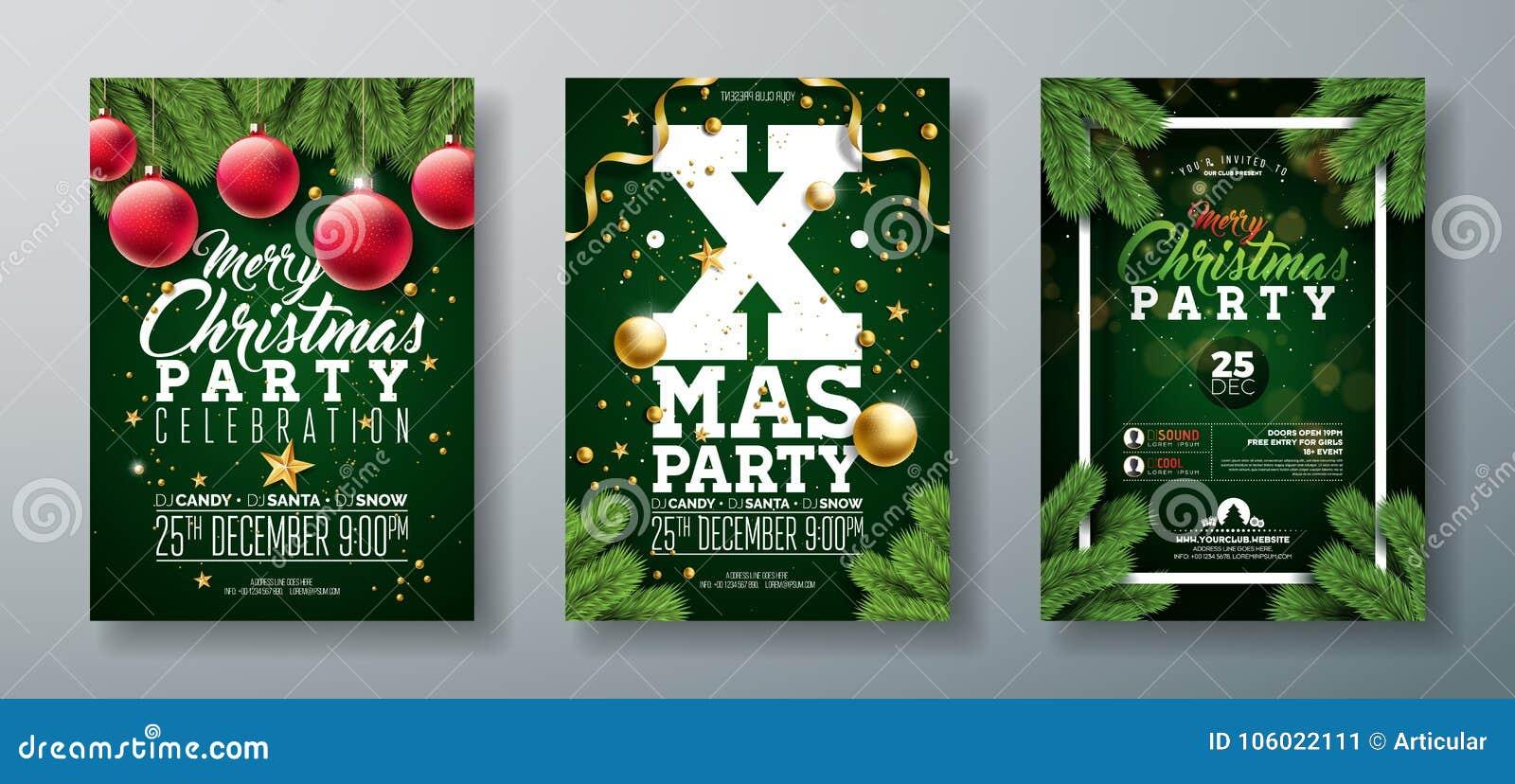 Διανυσματικό σχέδιο ιπτάμενων γιορτής Χριστουγέννων με τα στοιχεία τυπογραφίας διακοπών και τη διακοσμητική σφαίρα, κλάδος πεύκων