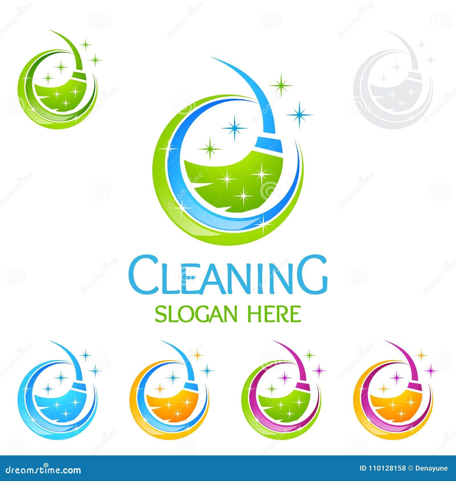 Διανυσματικό σχέδιο λογότυπων εγχώριων υπηρεσιών καθαρισμού, Eco φιλικό με τη λαμπρή σκούπα και την έννοια κύκλων
