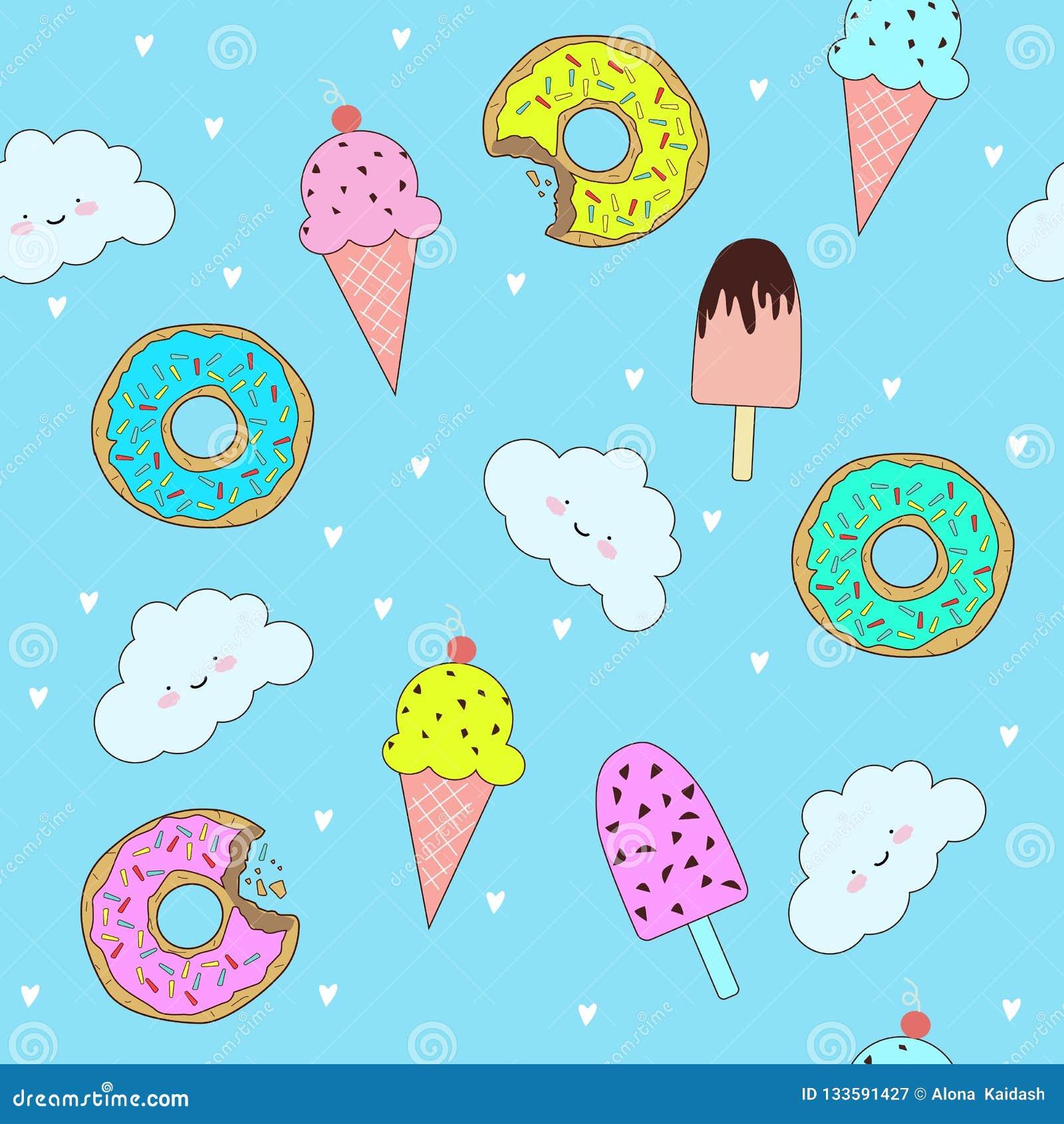 Διανυσματικό σχέδιο με τα χαριτωμένα donuts και το παγωτό