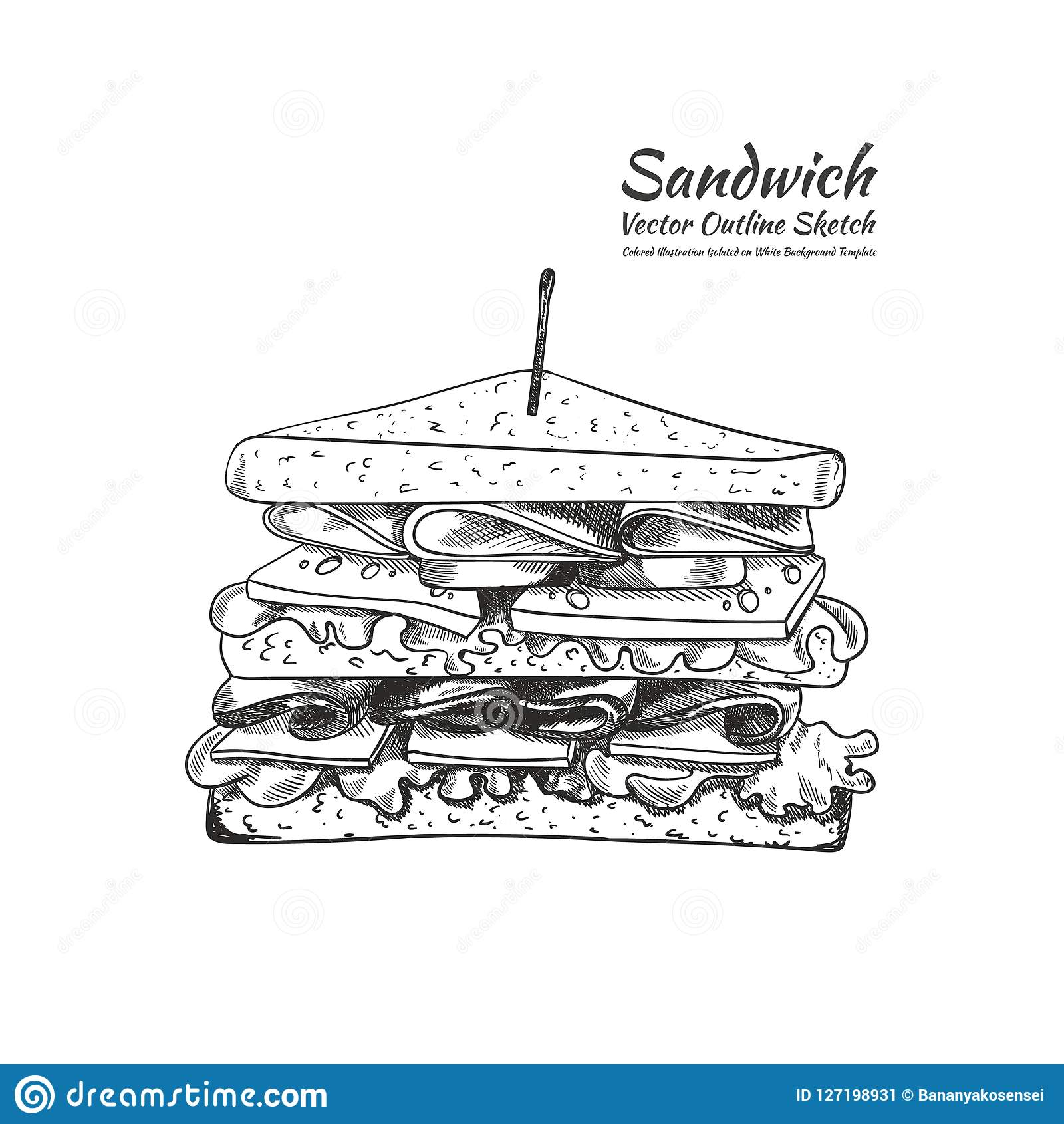 Διανυσματικό σχέδιο περιλήψεων, ένα σάντουιτς με μια οδοντογλυφίδα που απομονώνεται στο άσπρο υπόβαθρο, απεικόνιση