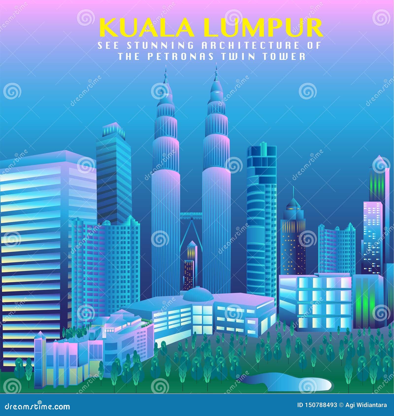 Διανυσματικό σχέδιο πρωτευουσών της Μαλαισίας