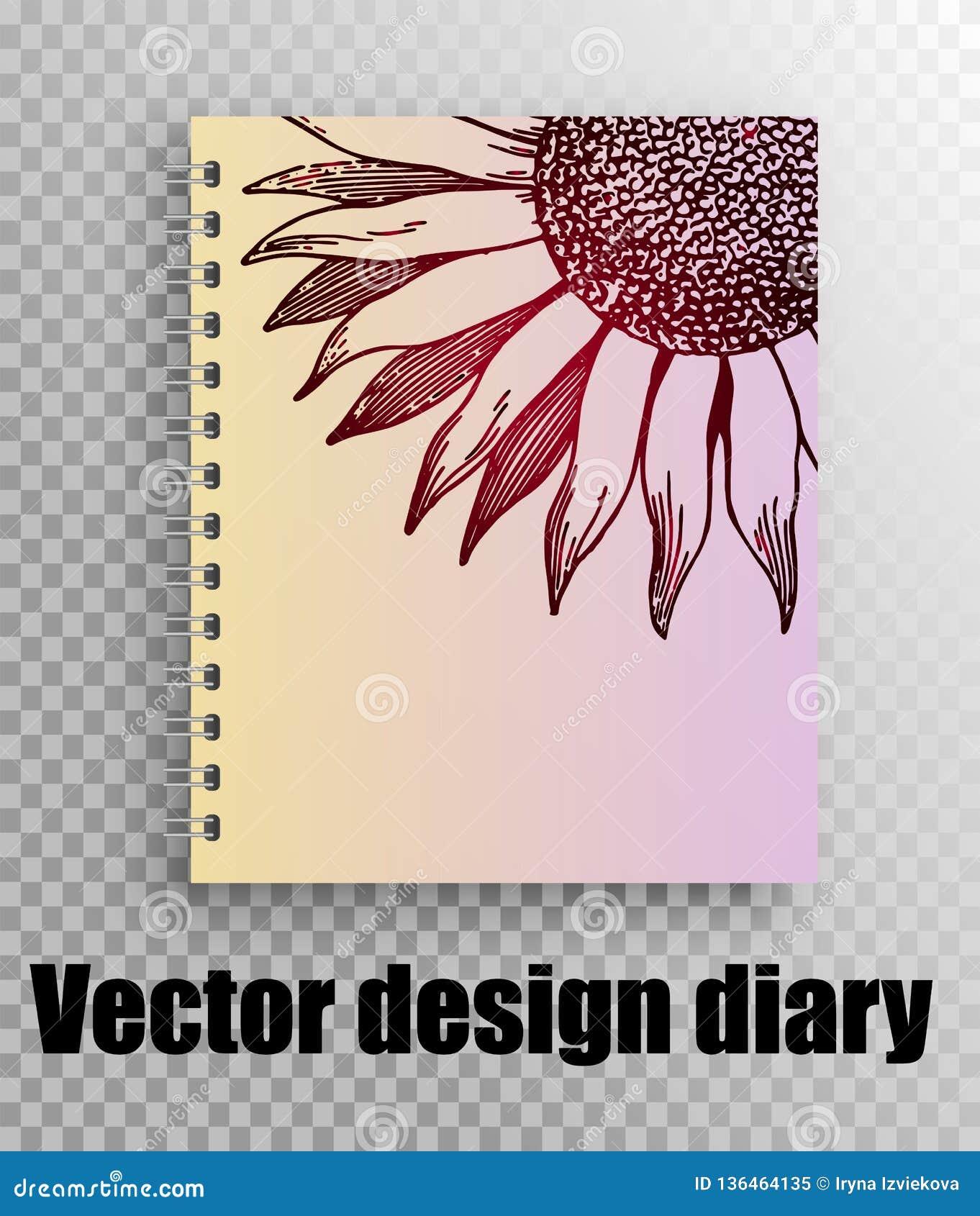 Διανυσματικό σχέδιο σχεδιαγράμματος για την κάλυψη ημερολογίων, σημειωματάριο