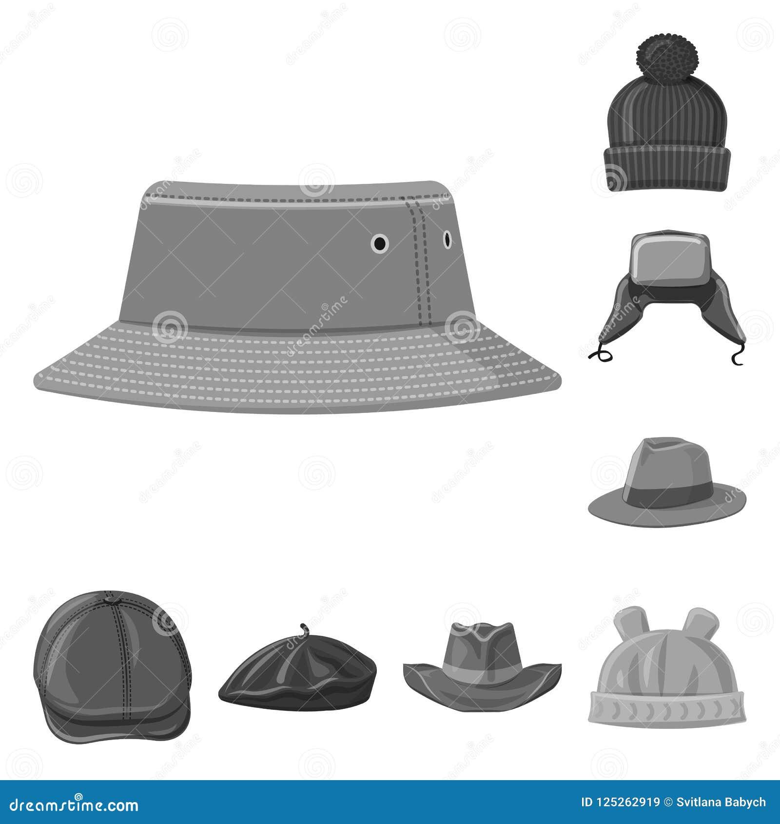 Διανυσματικό σχέδιο του headwear και λογότυπου ΚΑΠ Σύνολο headwear και βοηθητικής διανυσματικής απεικόνισης αποθεμάτων