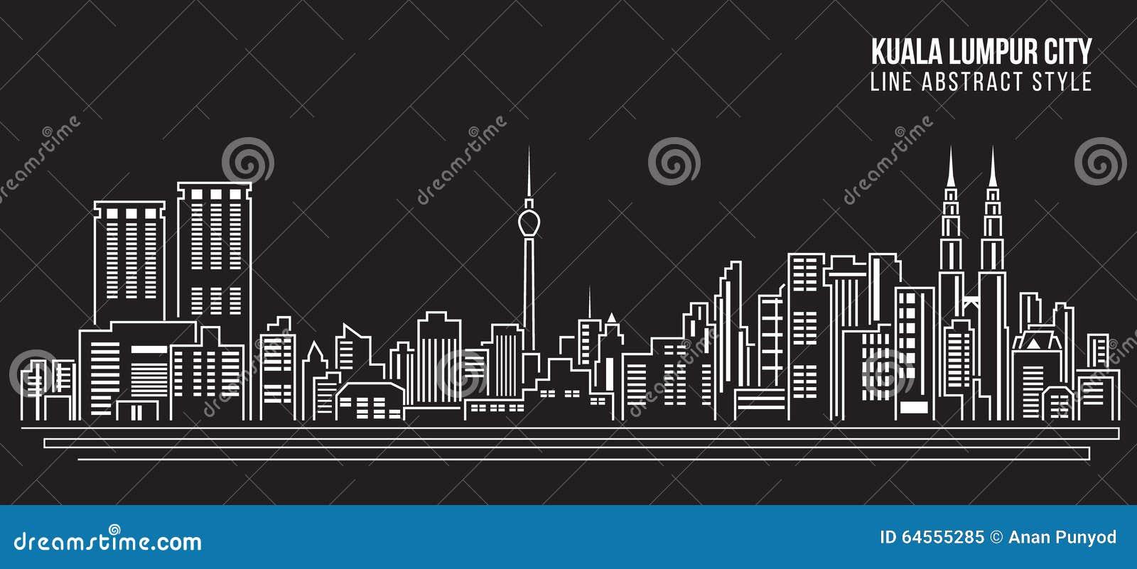 Διανυσματικό σχέδιο απεικόνισης τέχνης γραμμών κτηρίου εικονικής παράστασης πόλης - πόλη της Κουάλα Λουμπούρ
