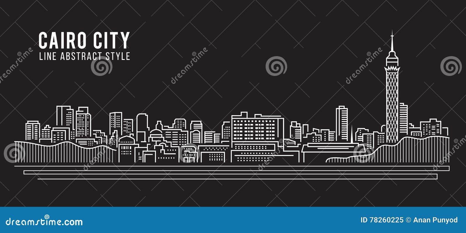 Διανυσματικό σχέδιο απεικόνισης τέχνης γραμμών κτηρίου εικονικής παράστασης πόλης - πόλη του Καίρου