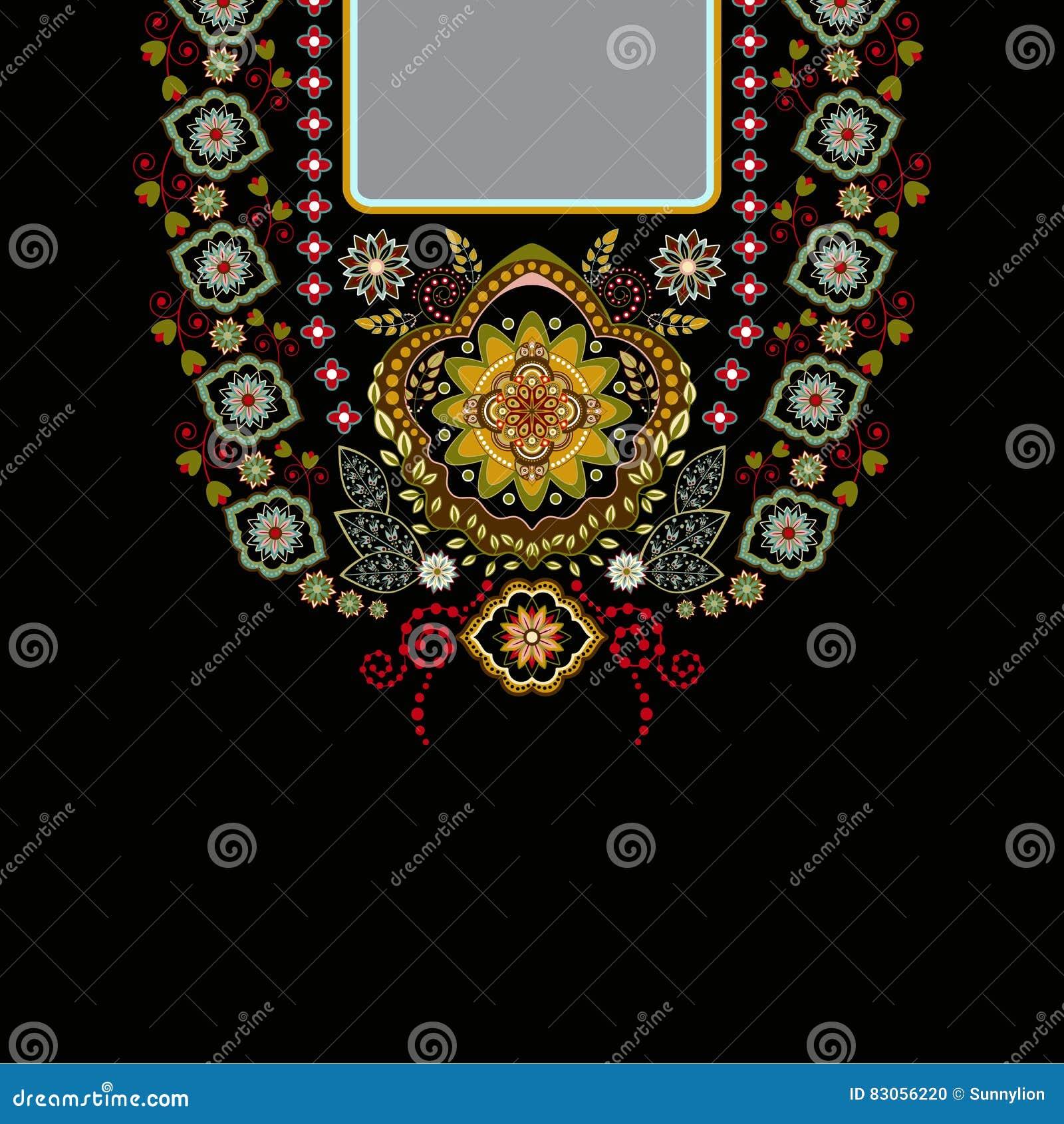 Διανυσματικό σχέδιο για τα πουκάμισα περιλαίμιων, μπλούζες, μπλούζα Λαιμός δύο λουλουδιών χρωμάτων εθνικός Διακοσμητικά σύνορα το