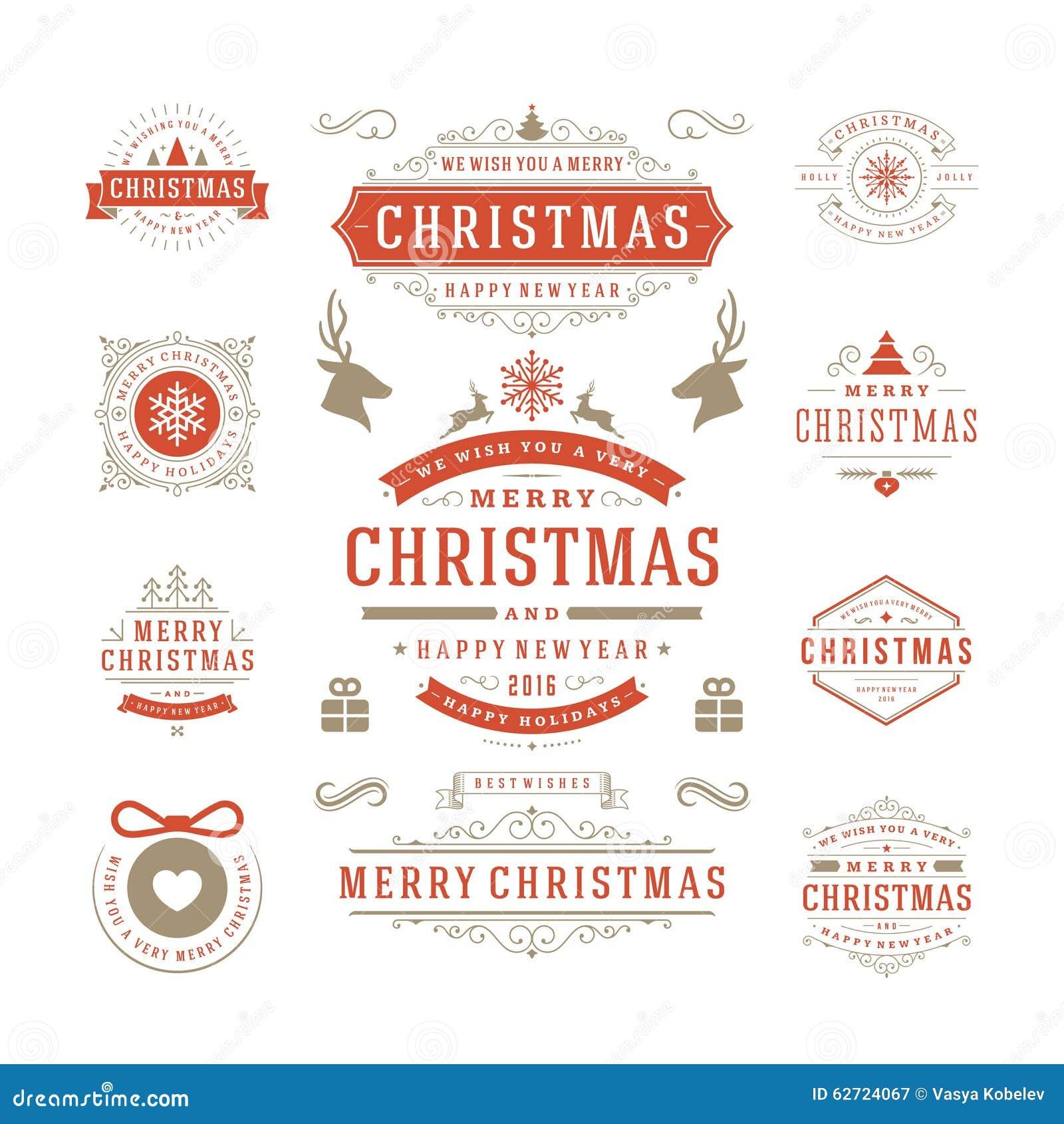 Διανυσματικό σχέδιο ετικετών και διακριτικών Χριστουγέννων