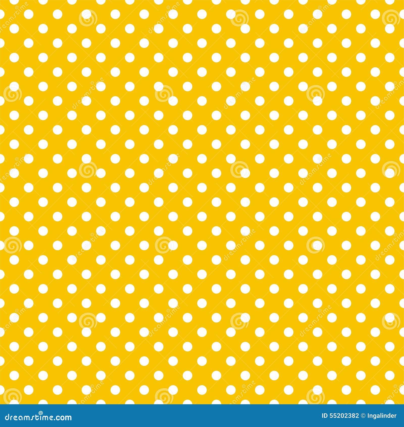 Διανυσματικό σχέδιο κεραμιδιών με τα άσπρα σημεία Πόλκα στο κίτρινο υπόβαθρο