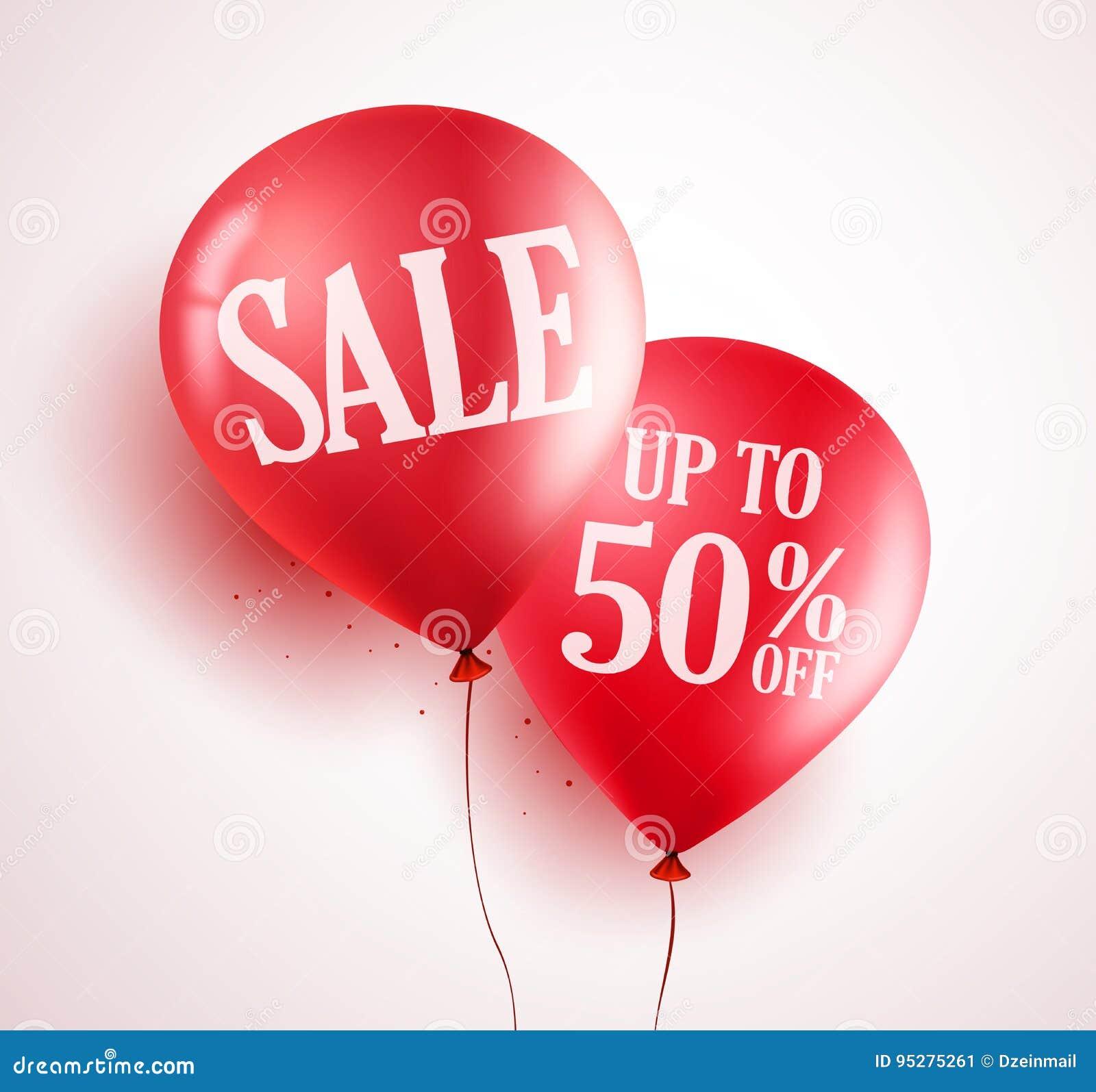 Διανυσματικό σχέδιο μπαλονιών πώλησης με 50  από το κόκκινο χρώμα στο άσπρο υπόβαθρο