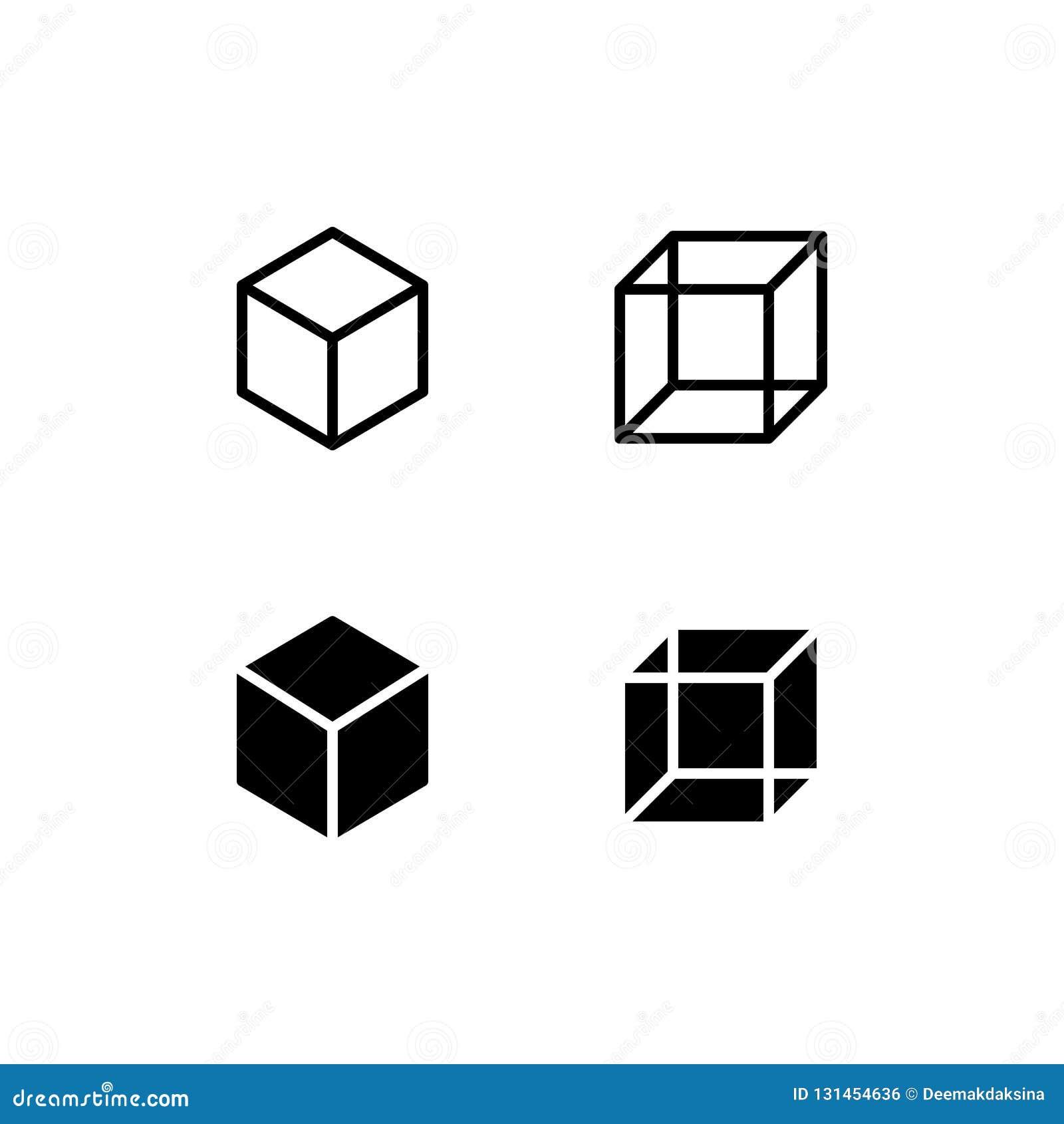 Διανυσματικό σύμβολο λογότυπων εικονιδίων κύβων Τετραγωνικό εικονίδιο που απομονώνεται στο άσπρο υπόβαθρο