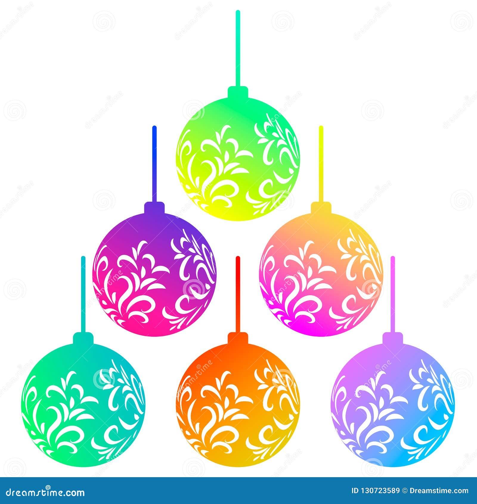 Διανυσματικό σύνολο έξι ζωηρόχρωμων σφαιρών Χριστουγέννων ουράνιων τόξων που απομονώνεται στο άσπρο υπόβαθρο Όμορφα παιχνίδια Χρι