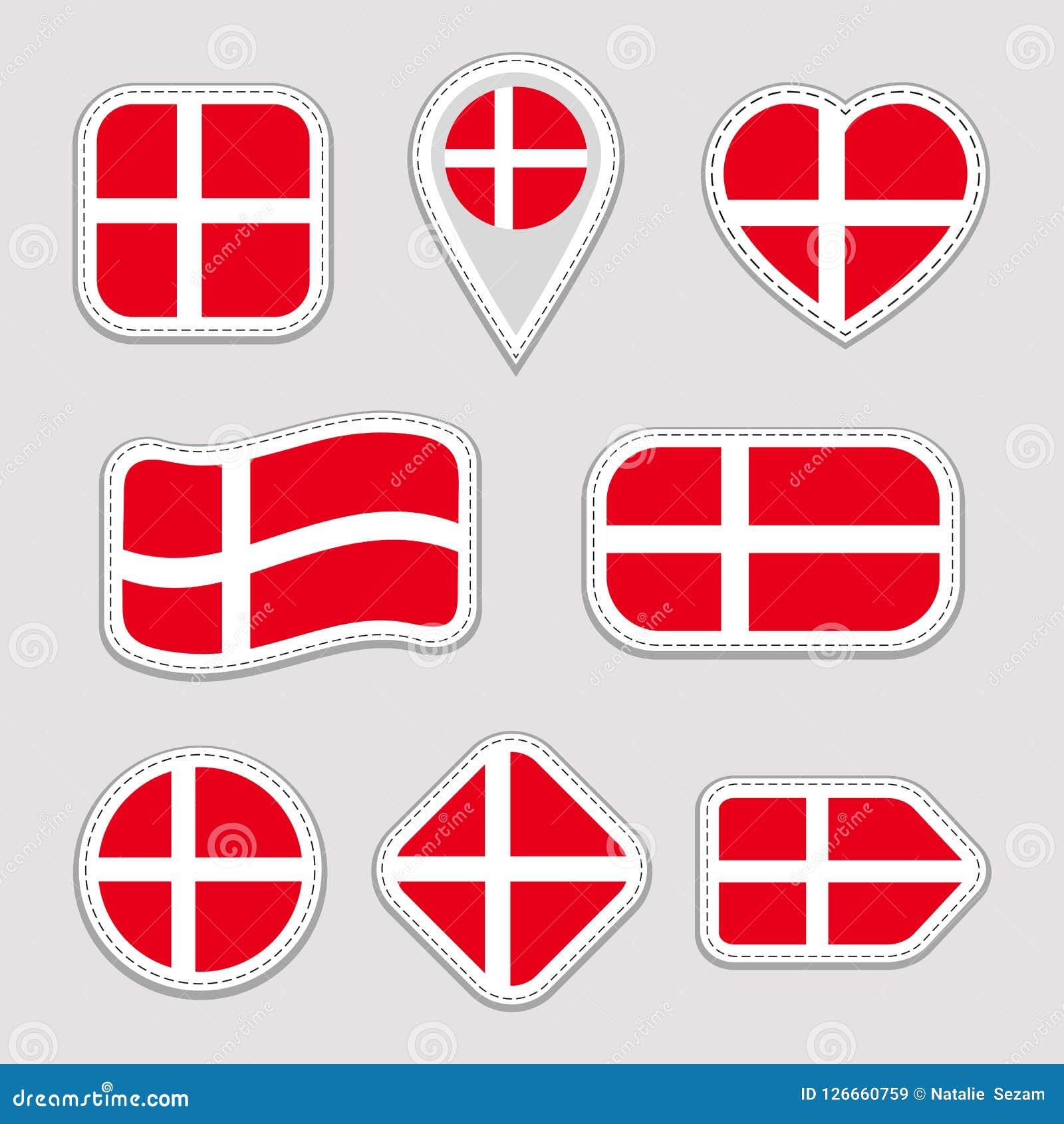 Διανυσματικό σύνολο σημαιών της Δανίας Συλλογή των δανικών αυτοκόλλητων ετικεττών εθνικών σημαιών Απομονωμένα εικονίδια Παραδοσια