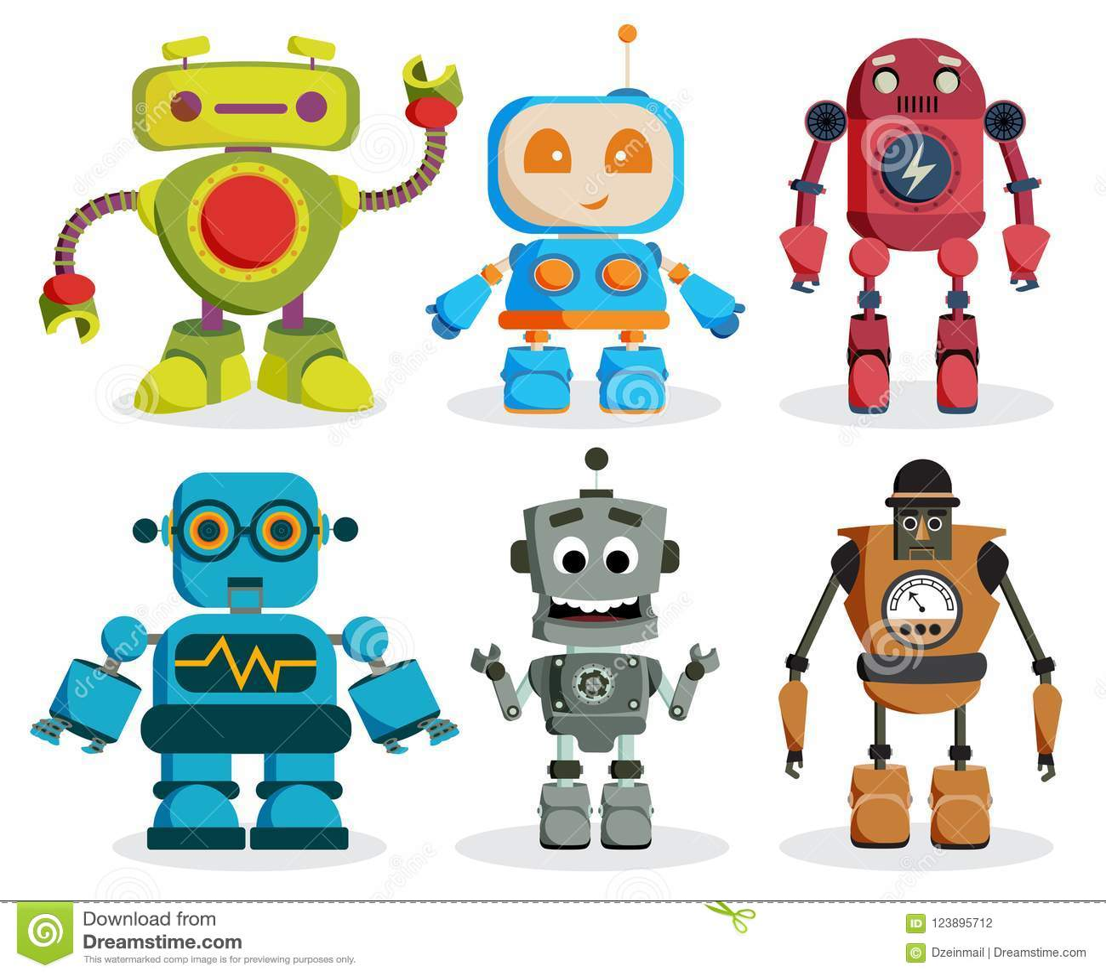 Διανυσματικό σύνολο χαρακτήρων παιχνιδιών ρομπότ Ζωηρόχρωμα στοιχεία ρομπότ παιδιών