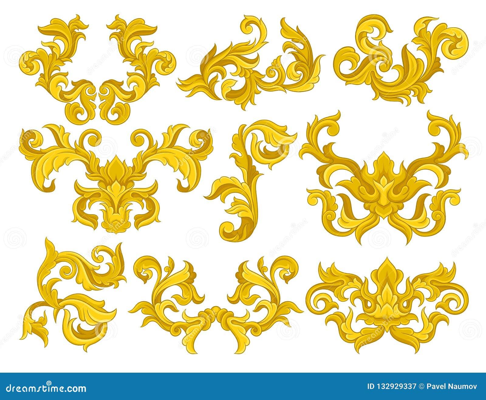 Διανυσματικό σύνολο χρυσών μπαρόκ διακοσμήσεων Πολυτελή floral σχέδια Διακοσμητικά στοιχεία για την πρόσκληση ή τη ευχετήρια κάρτ