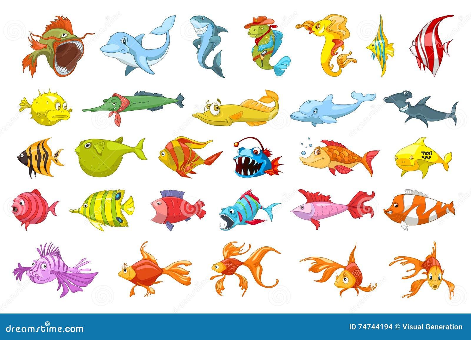 Διανυσματικό σύνολο απεικονίσεων ψαριών