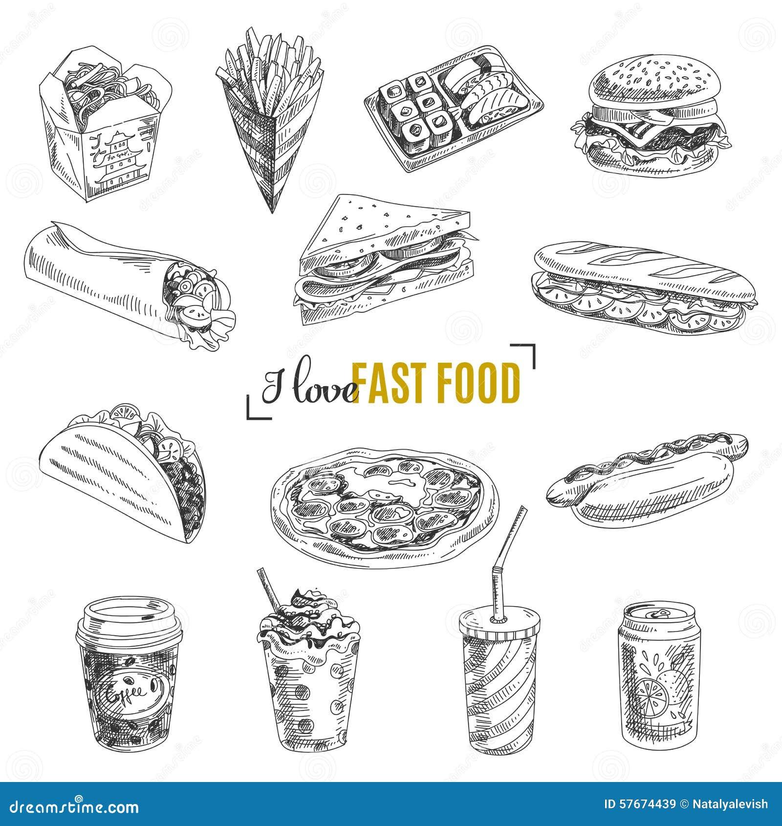 Διανυσματικό σύνολο γρήγορου φαγητού Απεικόνιση στο σκίτσο