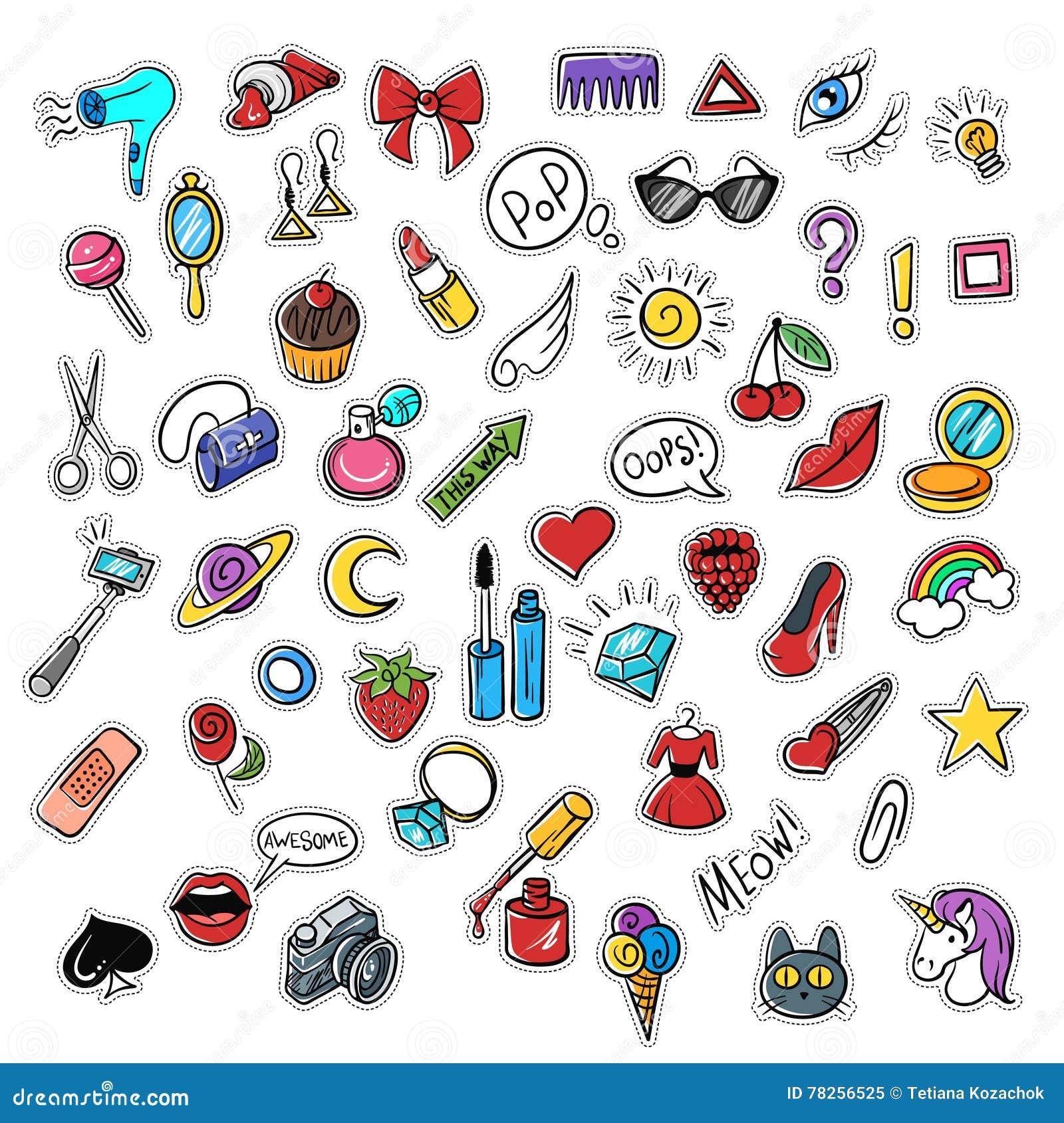 Διανυσματικό σύνολο μοντέρνων μπαλωμάτων Σύγχρονο σκίτσο τέχνης doodle λαϊκό
