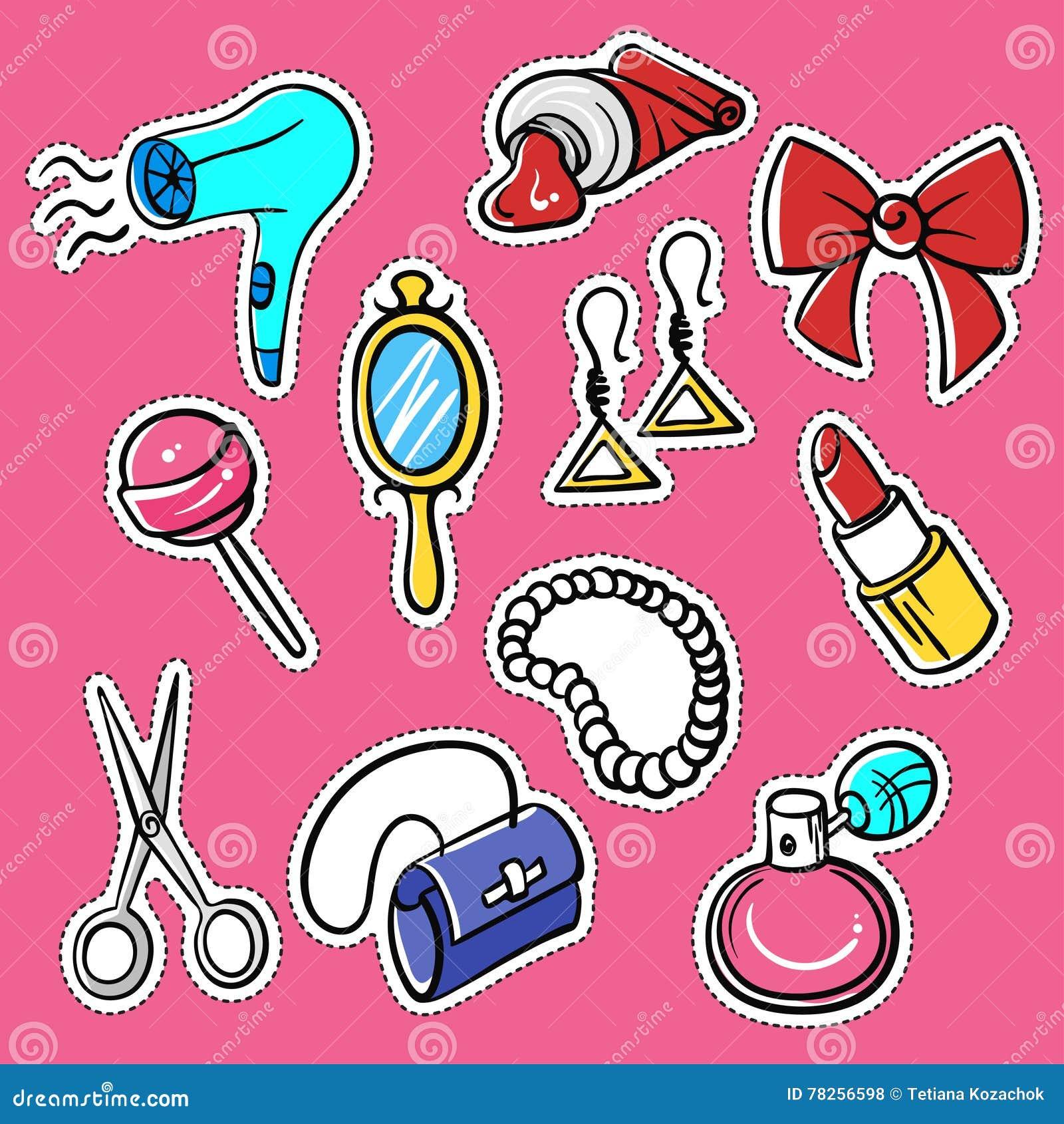 Διανυσματικό σύνολο μοντέρνων μπαλωμάτων: hairdryer, αλοιφή, άρωμα