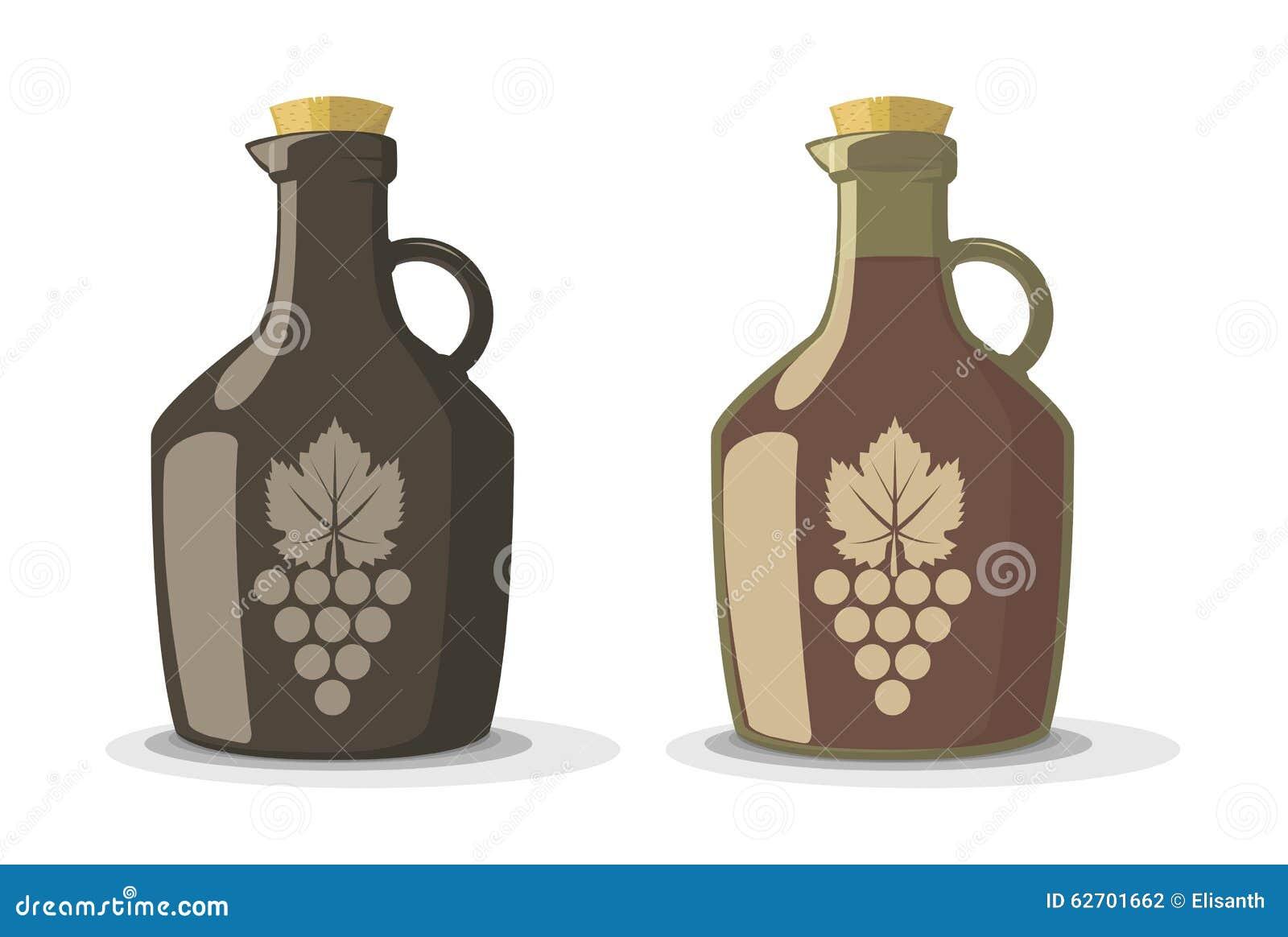 Διανυσματικό σύνολο δύο μπουκαλιών κρασιού