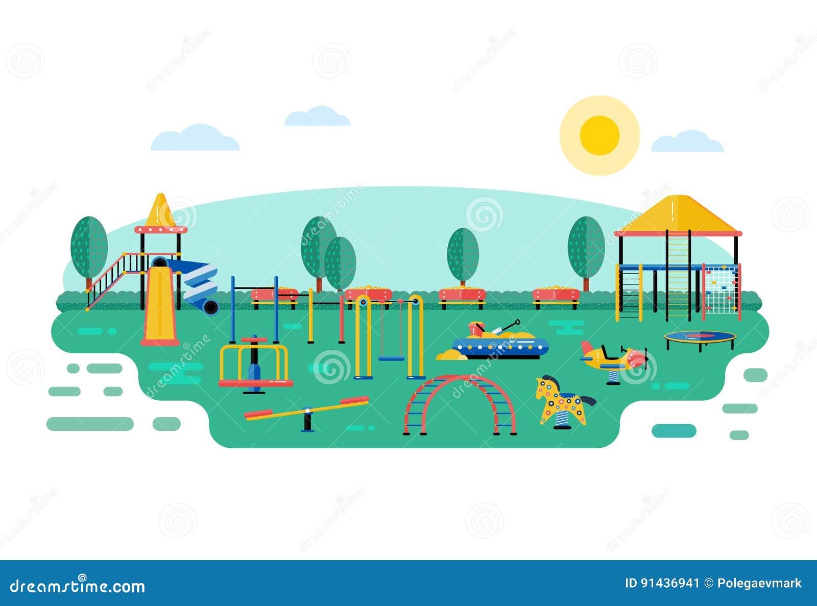 Διανυσματικό τοπίο παιδικών χαρών παιδιών στο επίπεδο σχέδιο Τα παιδιά παίζουν το α
