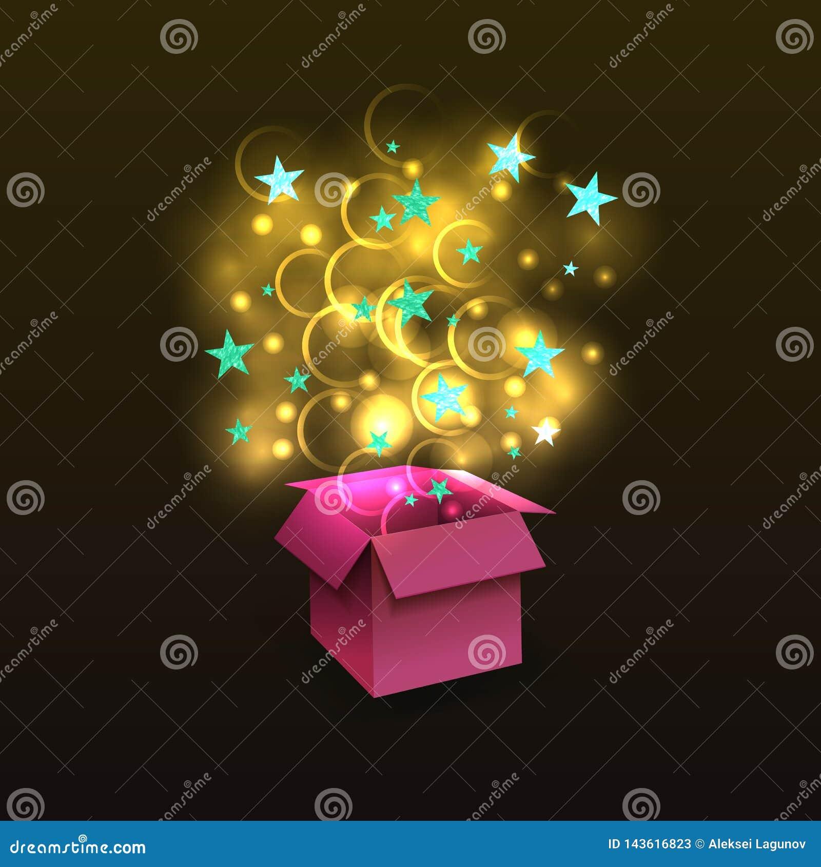 Διανυσματικό τρισδιάστατο αιφνιδιαστικό κιβώτιο τα λάμποντας χρυσά μαγικά και ανοικτό μπλε κατασκευασμένα αστέρια, που απομονώνον