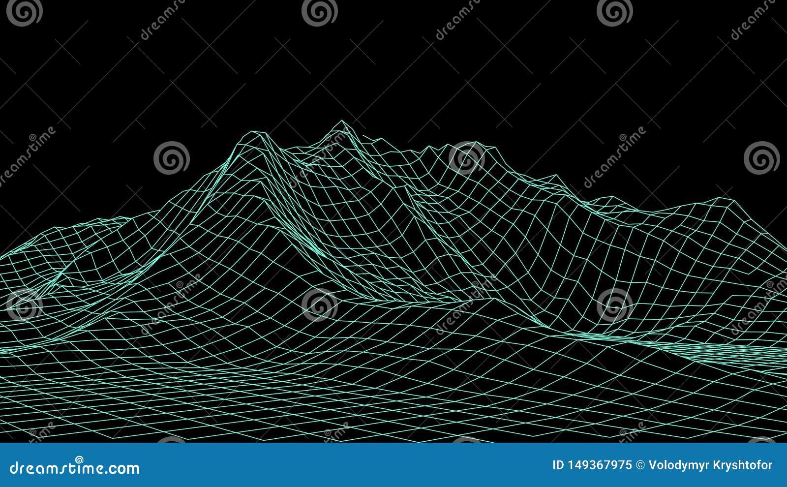 Διανυσματικό τρισδιάστατο τοπίο wireframe Απεικόνιση πλέγματος
