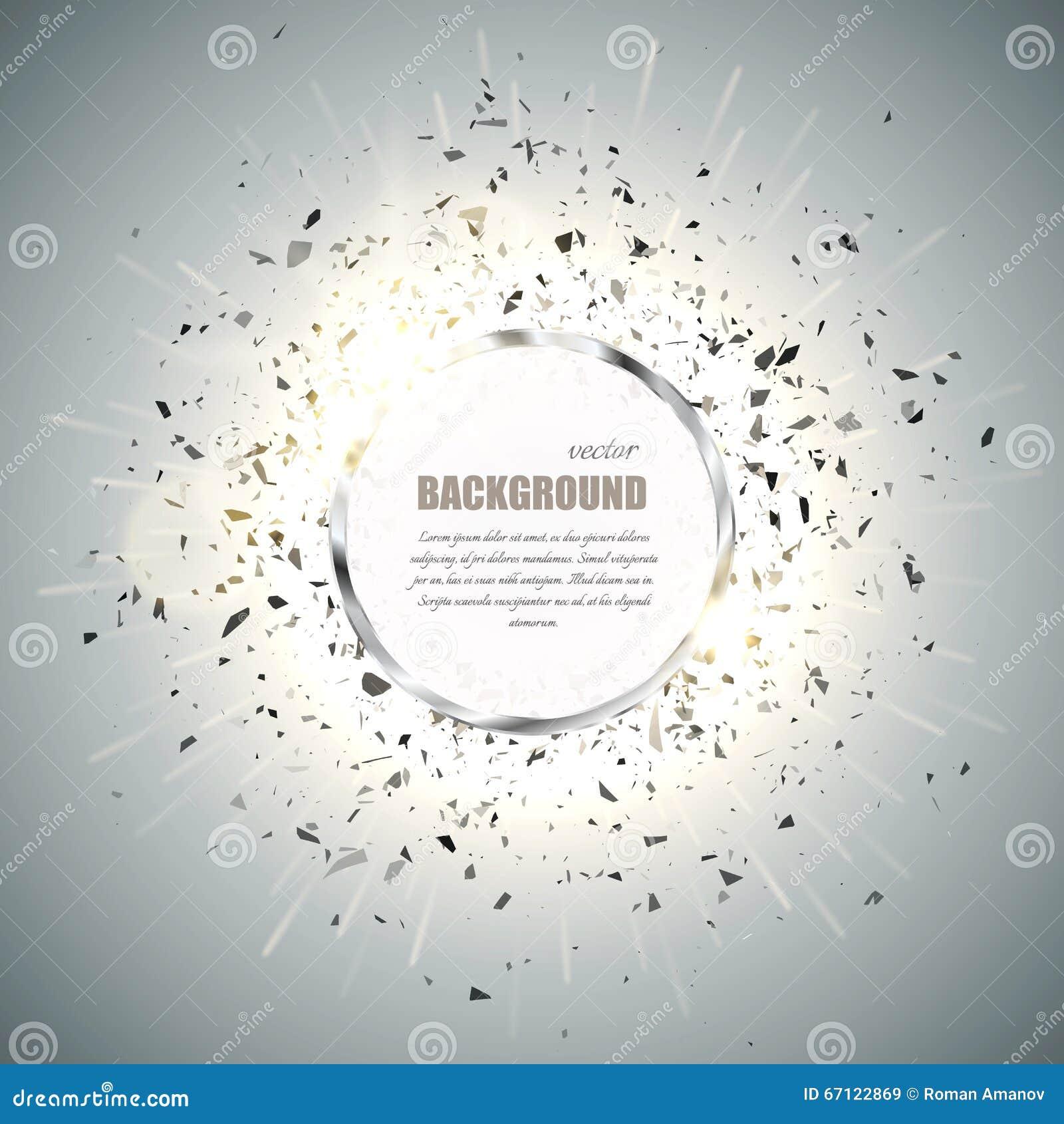Διανυσματικό υπόβαθρο δαχτυλιδιών Το χρώμιο μετάλλων λάμπει γύρω από το πλαίσιο με την ελαφριά επίδραση σπινθήρων και τη μεγάλη έ