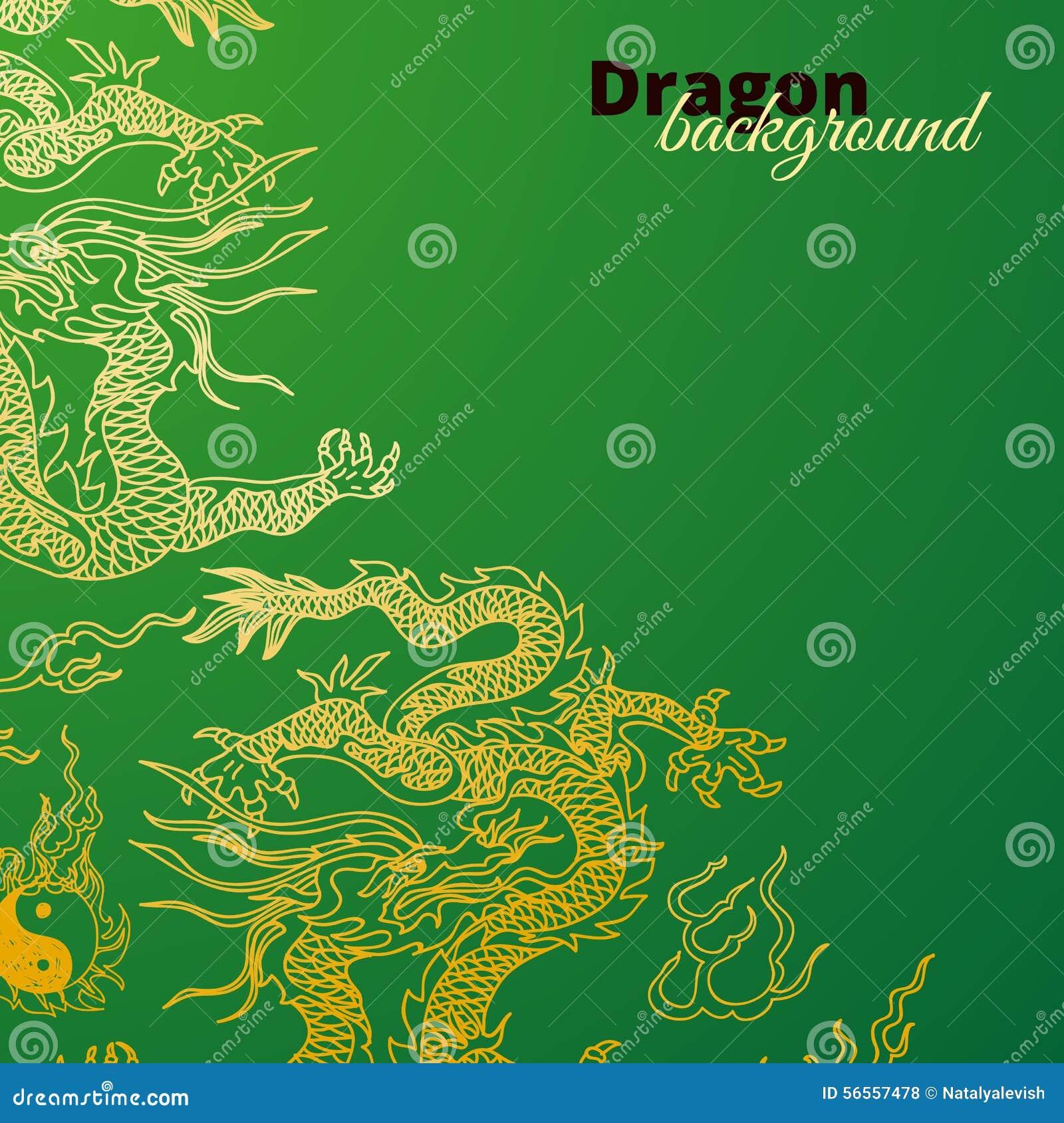 Download Διανυσματικό υπόβαθρο με τους δράκους της Ασίας συρμένο χέρι Διανυσματική απεικόνιση - εικονογραφία από ανατολή, νέος: 56557478