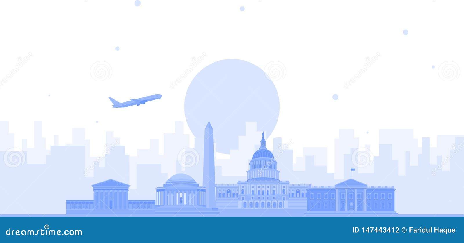 Διανυσματικό υπόβαθρο οριζόντων πόλεων της Ουάσιγκτον Επίπεδη καθιερώνουσα τη μόδα απεικόνιση