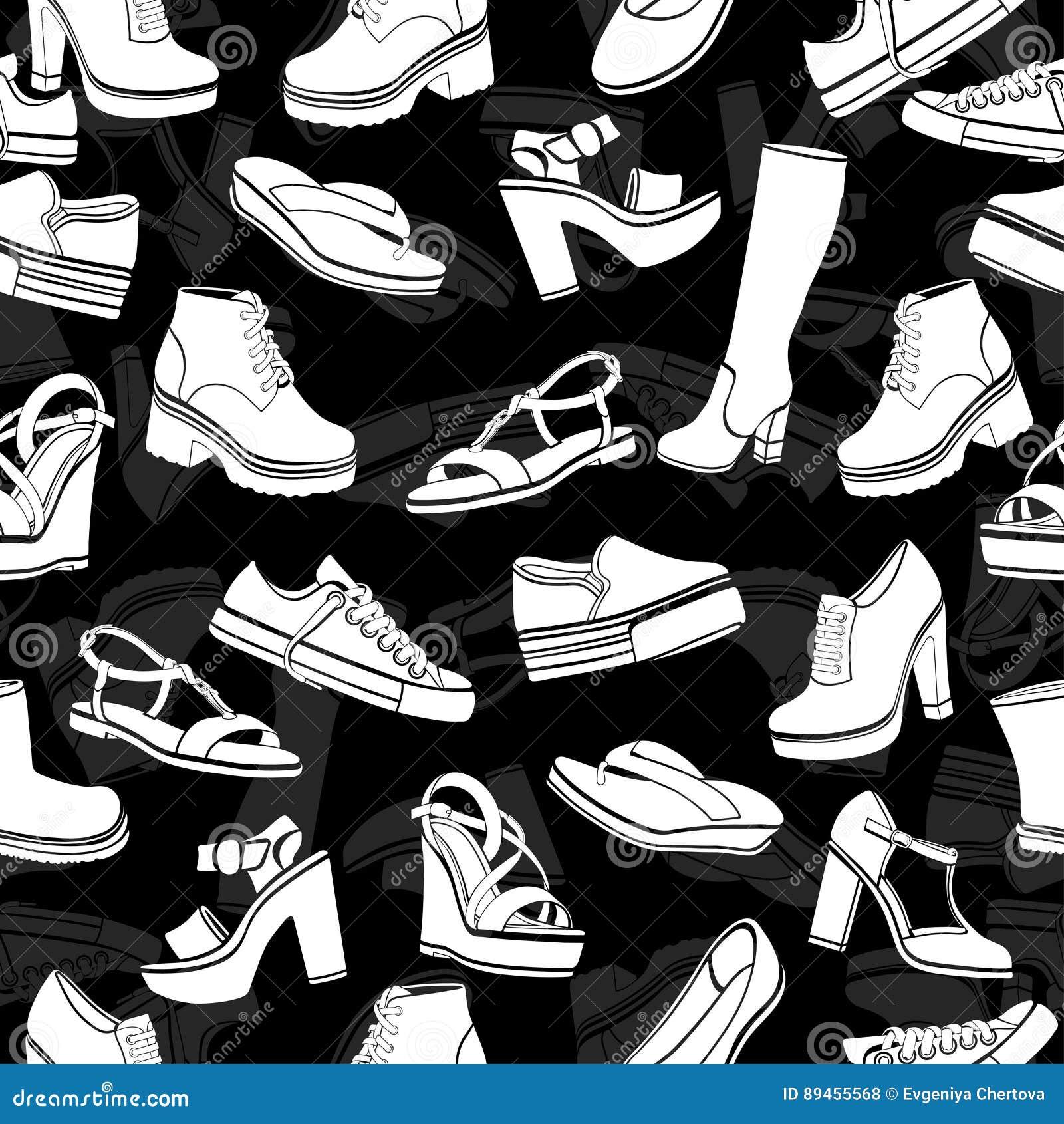 a32293527ad Διανυσματικό υπόβαθρο παπουτσιών, άνευ ραφής σχέδιο Άσπρα σανδάλια, μπότες,  χαμηλό παπούτσι, παντόφλες μπαλέτου, Gumshoes, γόνατο Διανυσματική  απεικόνιση ...