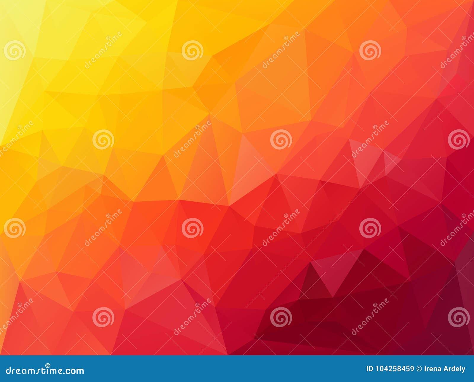 Διανυσματικό υπόβαθρο πολυγώνων με ένα σχέδιο τριγώνων στη δονούμενη κλίση χρώματος hoz κόκκινη πορτοκαλιά κίτρινη