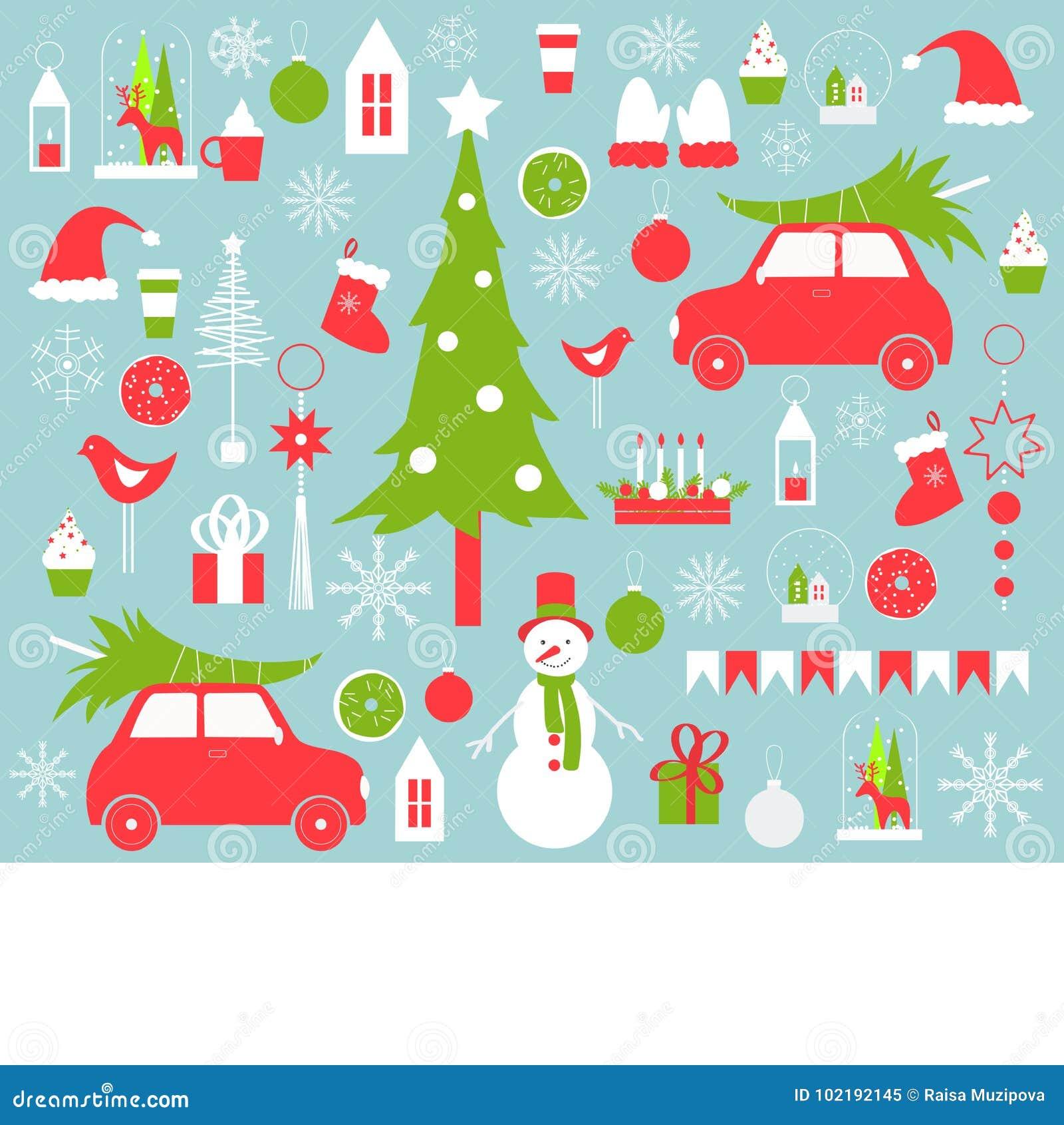 Διανυσματικό υπόβαθρο Χριστουγέννων με το χιονάνθρωπο και τα Χριστούγεννα tre