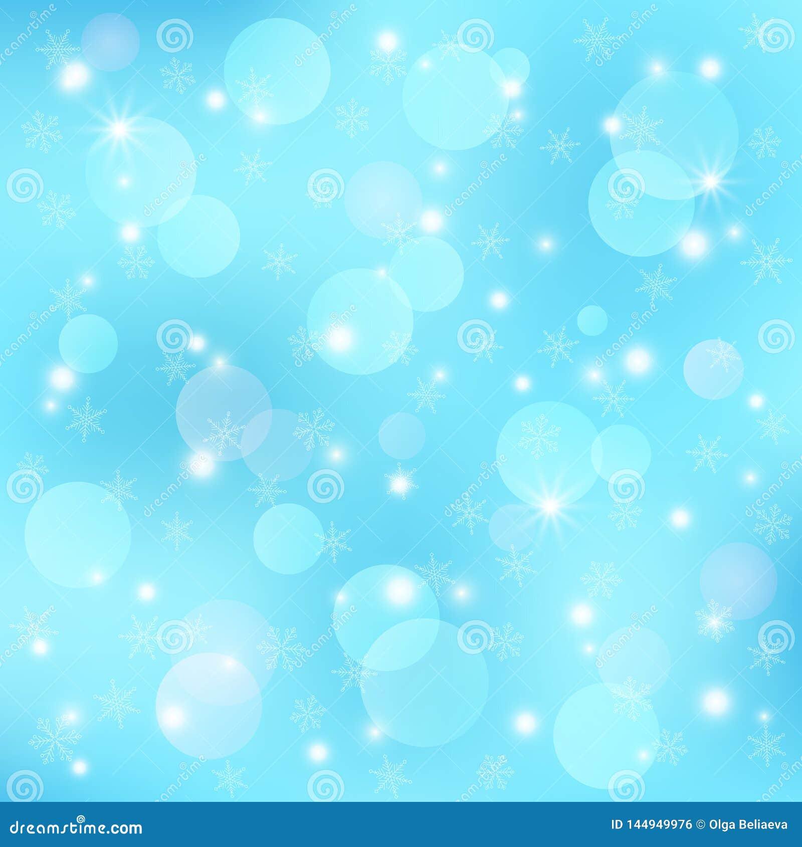 Διανυσματικό χειμερινό εορταστικό υπόβαθρο Το πρότυπο με το bokeh, snowflakes