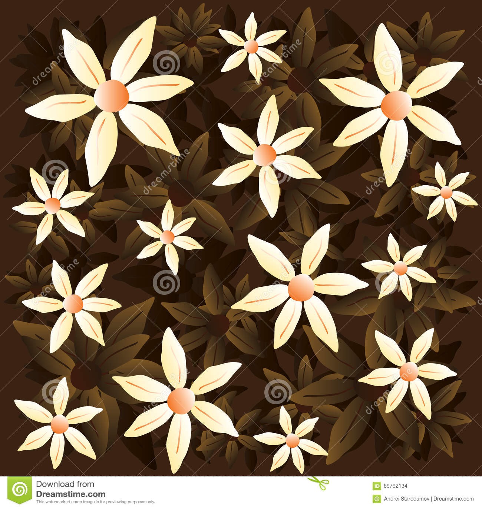 Διανυσματικό chamomile καφετί σχέδιο