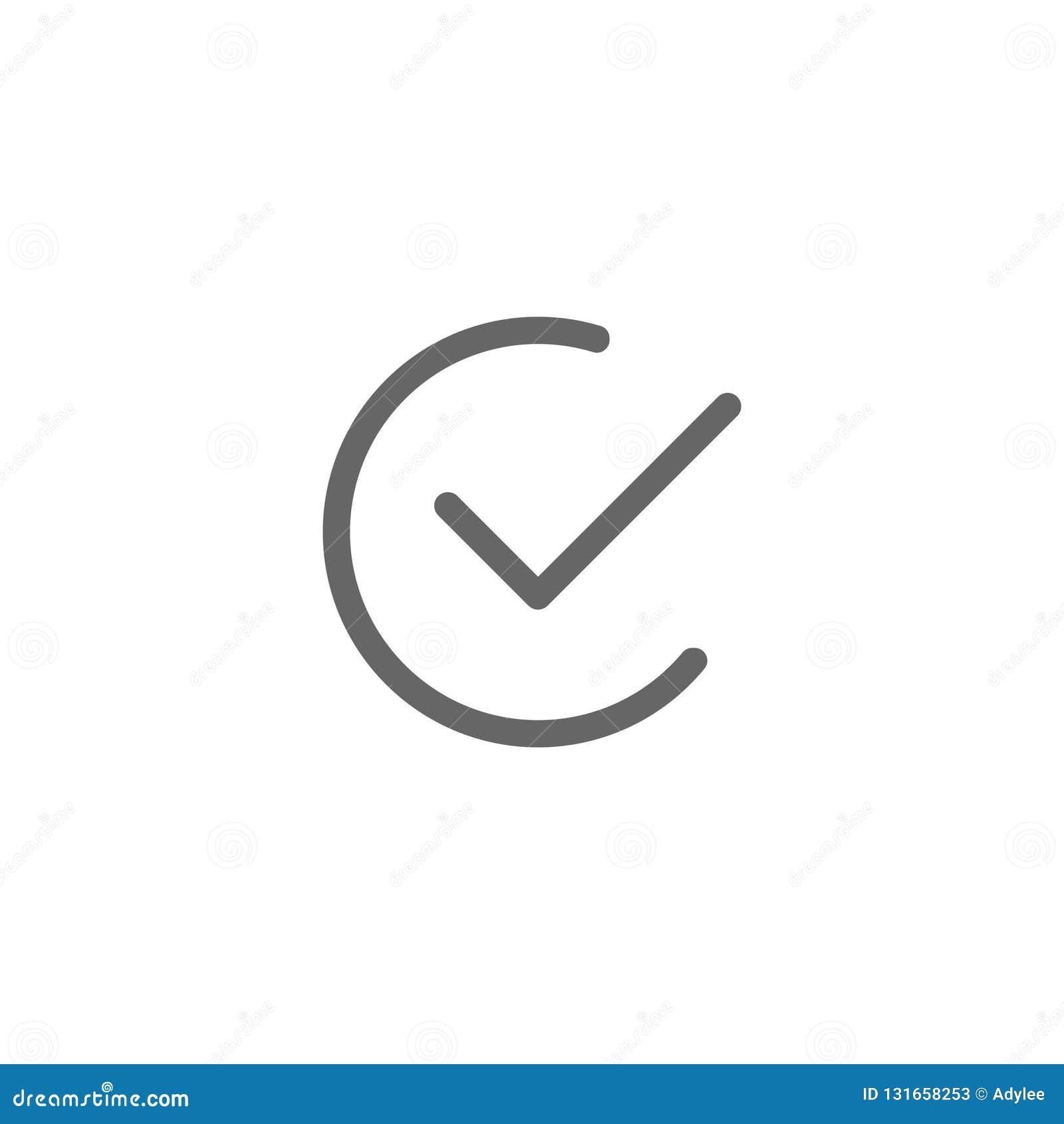 Διανυσματικό checkmark ελέγχου επίπεδο εικονίδιο γύρω από απλό