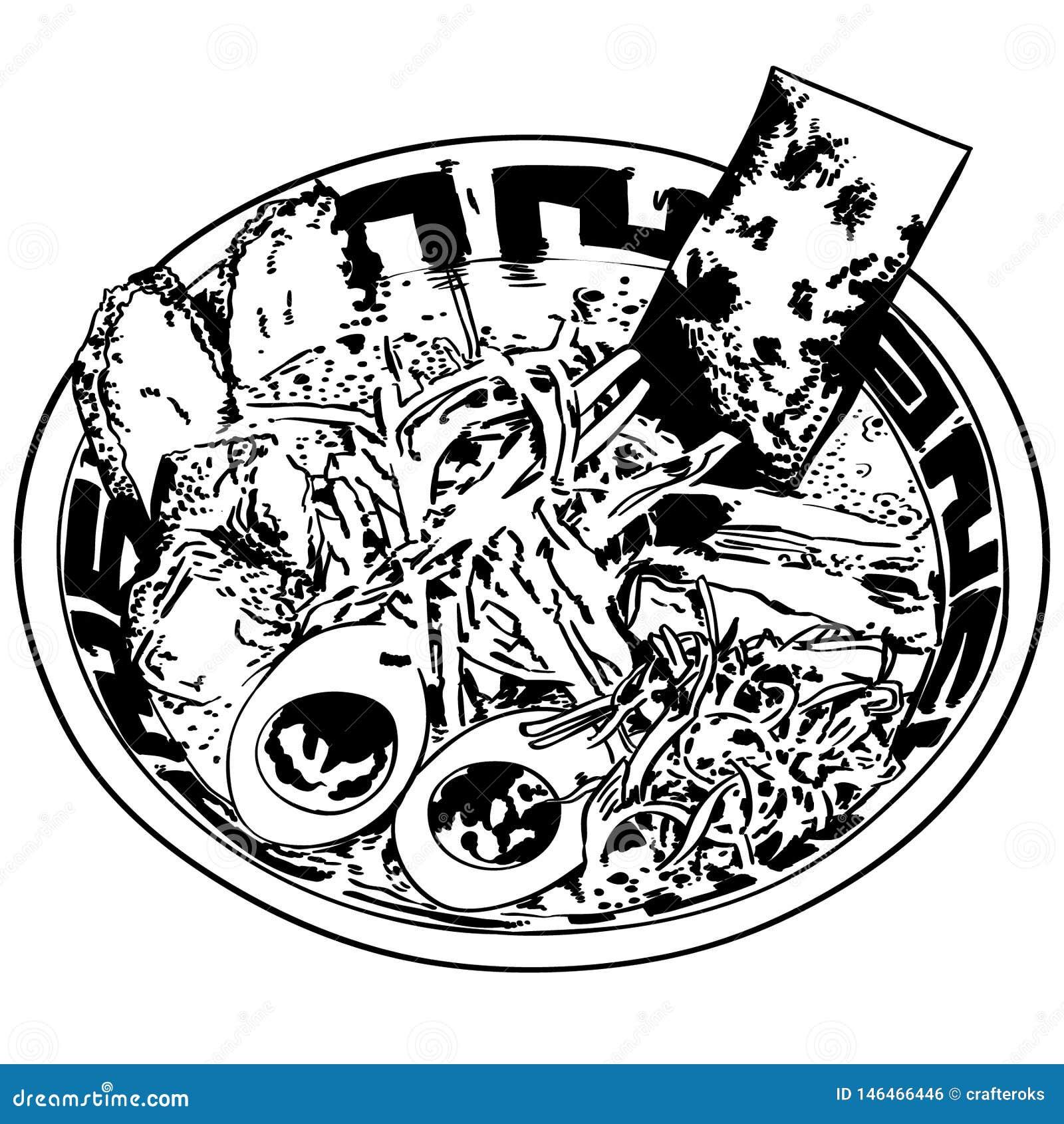 Διανυσματικό eps Ramen χέρι που σύρεται, διάνυσμα, Eps, λογότυπο, εικονίδιο, απεικόνιση σκιαγραφιών από τα crafteroks για τις δια