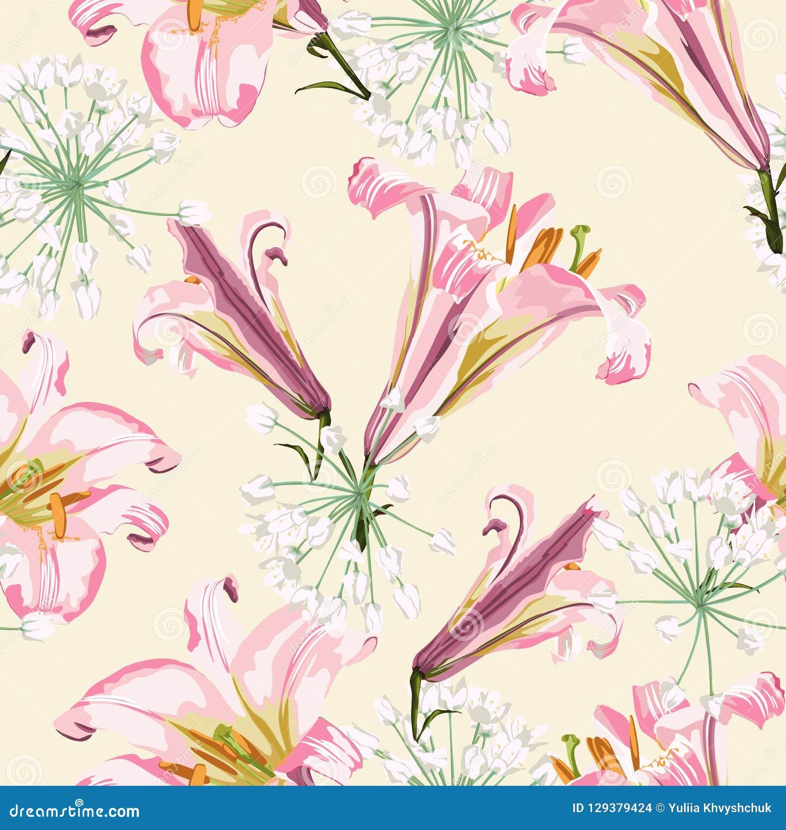 Διανυσματικό floral άνευ ραφής σχέδιο με τους ρόδινους κρίνους και τα άσπρα λουλούδια