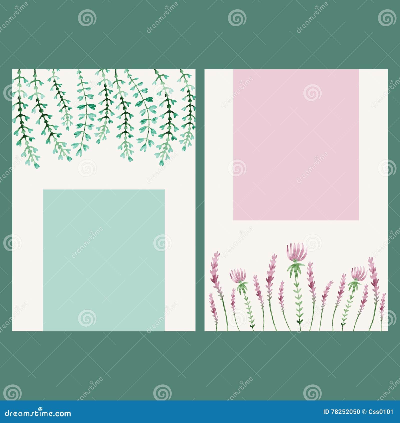 Διανυσματικό floral έμβλημα watercolor Το χέρι σύρει τα βοτανικά σύνορα