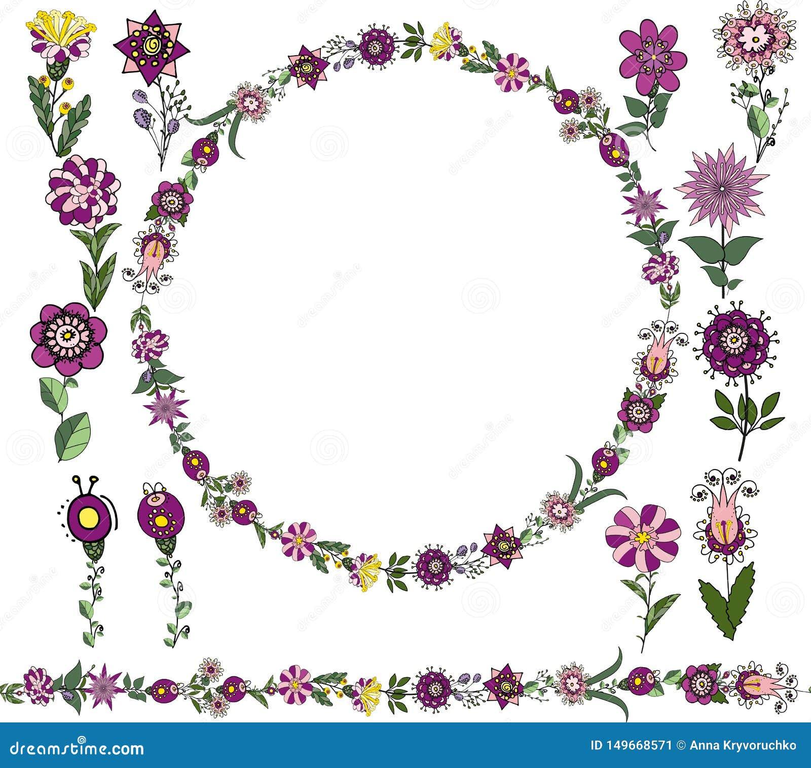 Διανυσματικό Floral σύνολο: Άνευ ραφής βούρτσα, στρογγυλό πλαίσιο από τα απλά βοτανικά στοιχεία στο εθνικό ύφος, λουλούδια των ιω