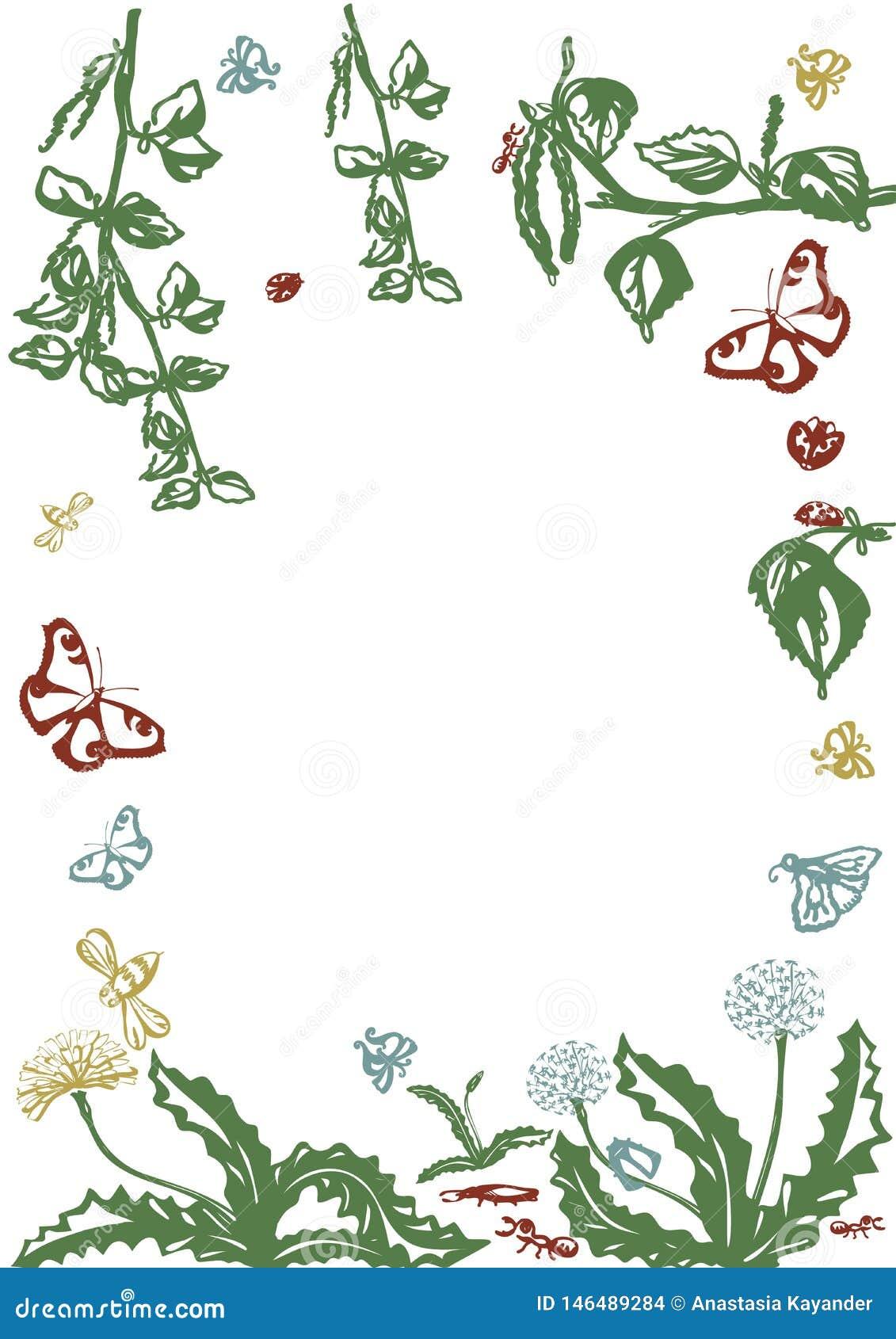 Διανυσματικό floral σύνολο Γραφική συλλογή με τα φύλλα και τα λουλούδια, που σύρουν τα στοιχεία E