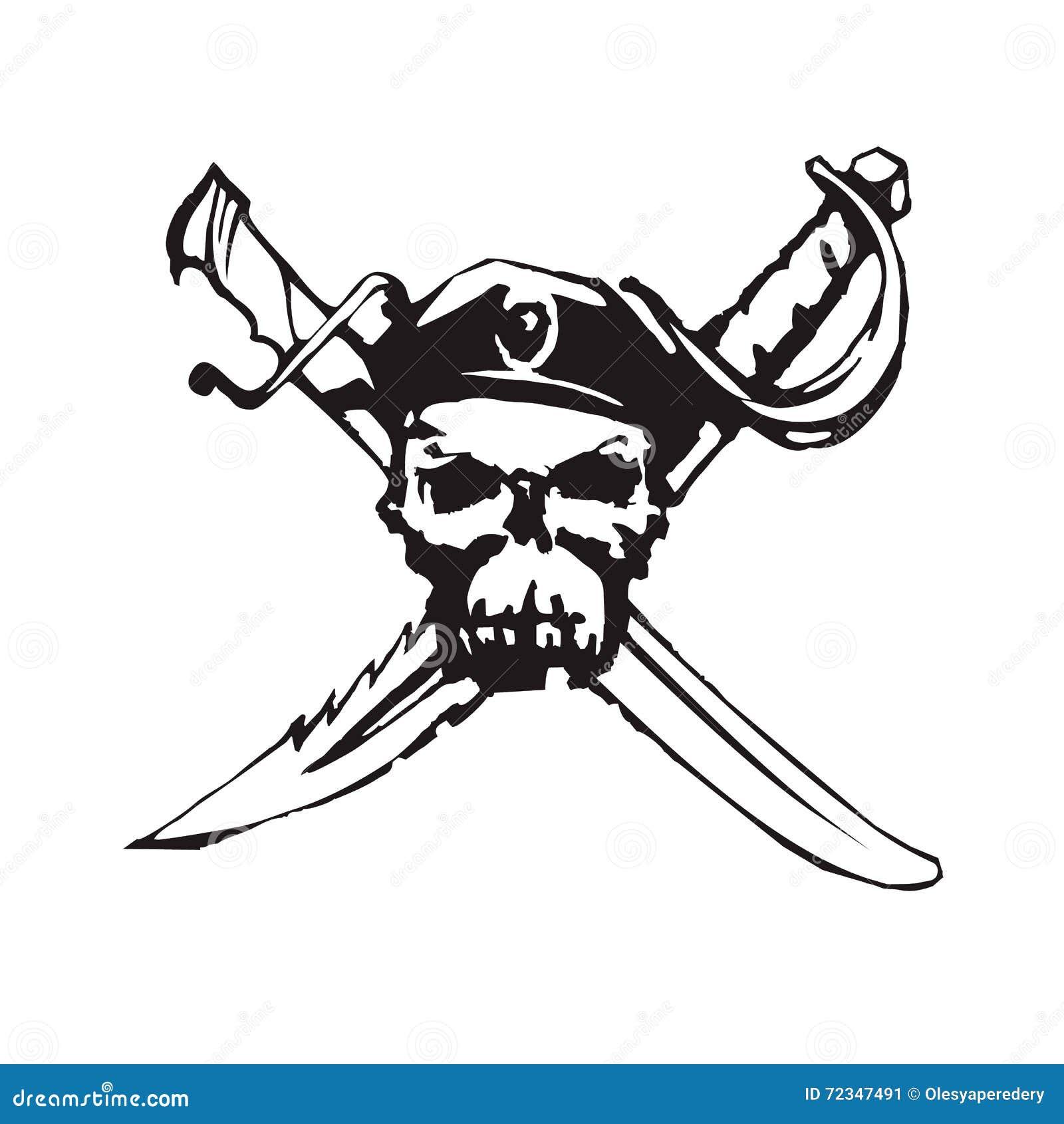Διανυσματικό handdrawn μαύρο ευχάριστα σύμβολο πειρατών του Roger