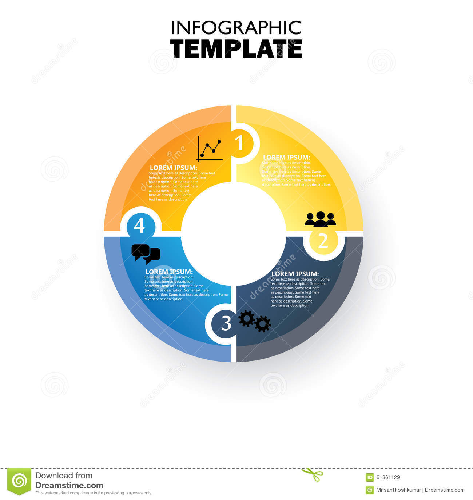 Διανυσματικό infographic πρότυπο κύκλων για το διάγραμμα κύκλων