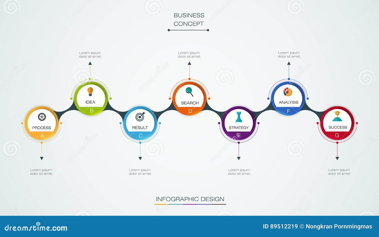 Διανυσματικό infographic πρότυπο υπόδειξης ως προς το χρόνο με την τρισδιάστατη ετικέτα εγγράφου, ενσωματωμένοι κύκλοι