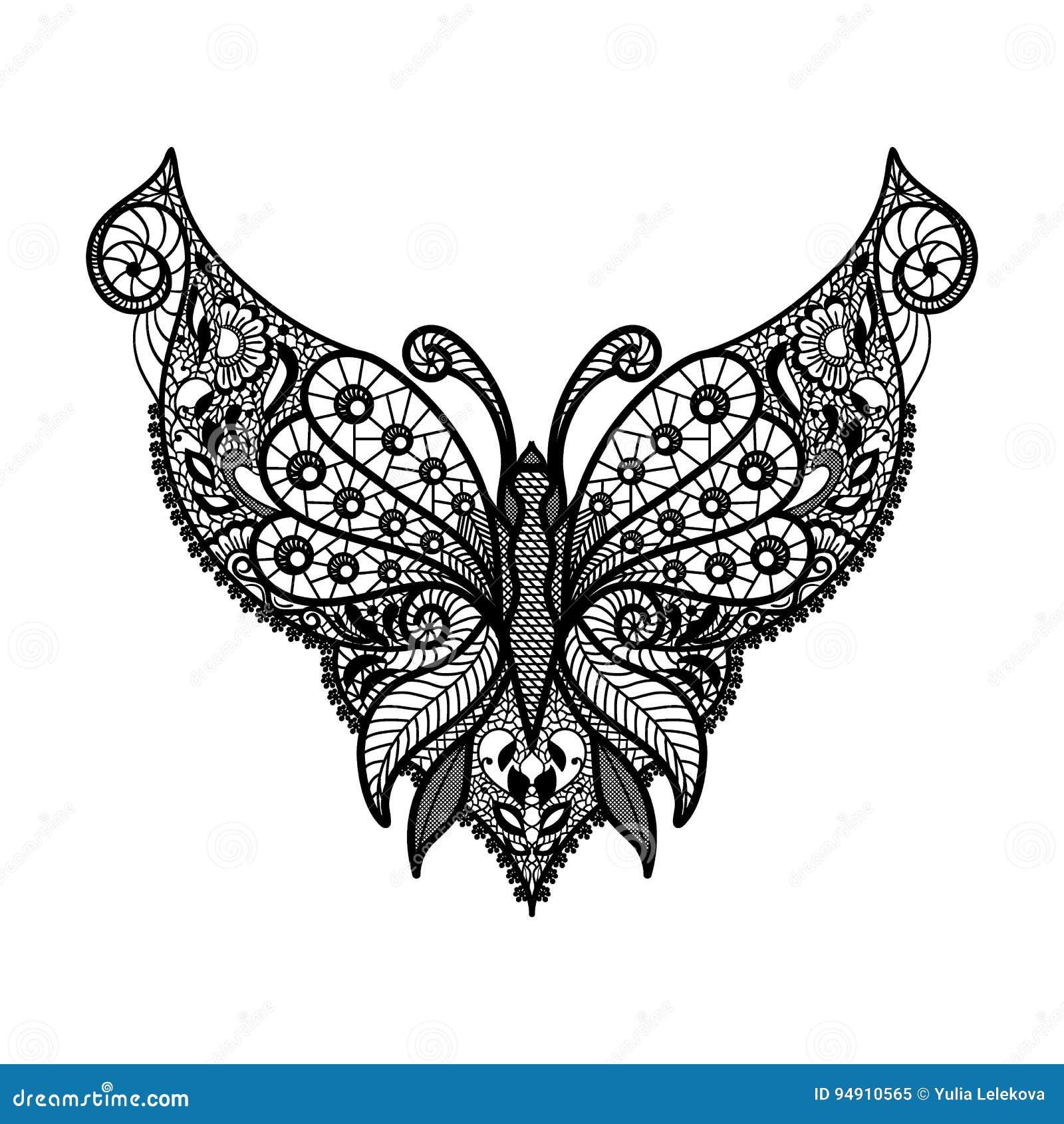 Διανυσματικό neckline δαντελλών Τυπωμένη ύλη λαιμών με τη μορφή πεταλούδων και τη floral διακόσμηση