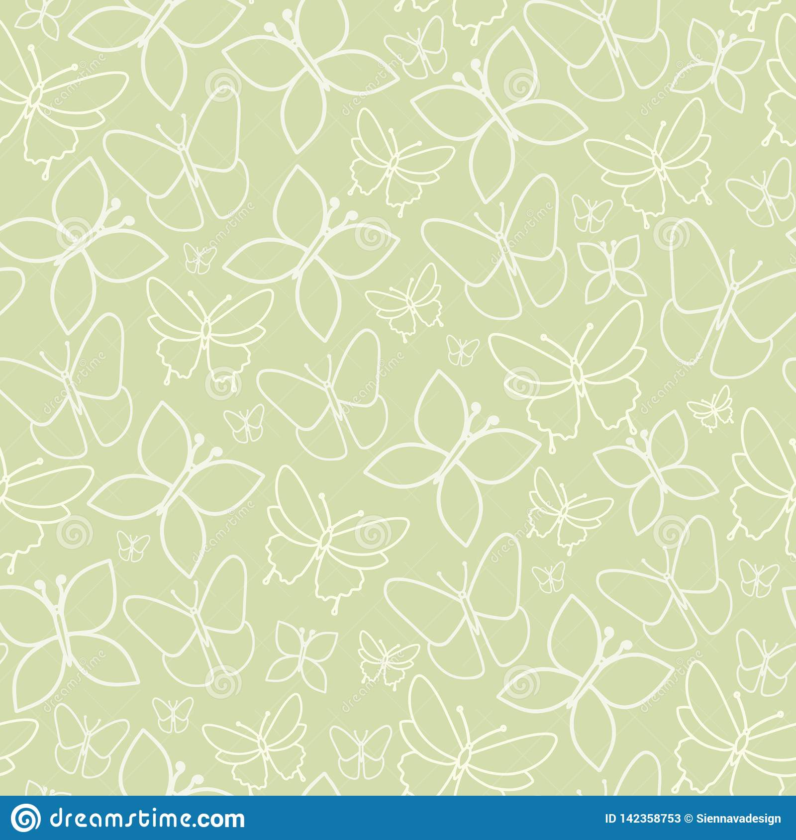 Διασκέδασης πράσινη σύσταση σχεδίων πεταλούδων άνευ ραφής